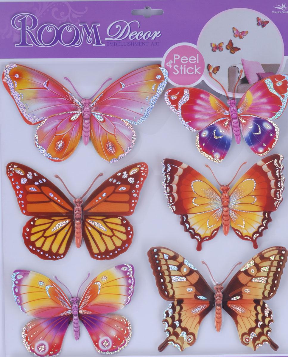 Наклейки для интерьера Room Decoration Бабочки, объемные, 30,5 х 30,5 см CBA3118 наклейки для интерьера room decoration кокетка со стразами 50 х 32 см
