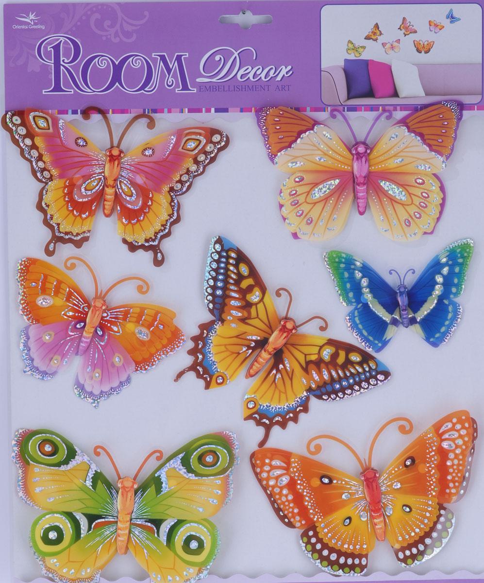 Наклейки для интерьера Room Decoration Бабочки с блестками, 30,5 х см
