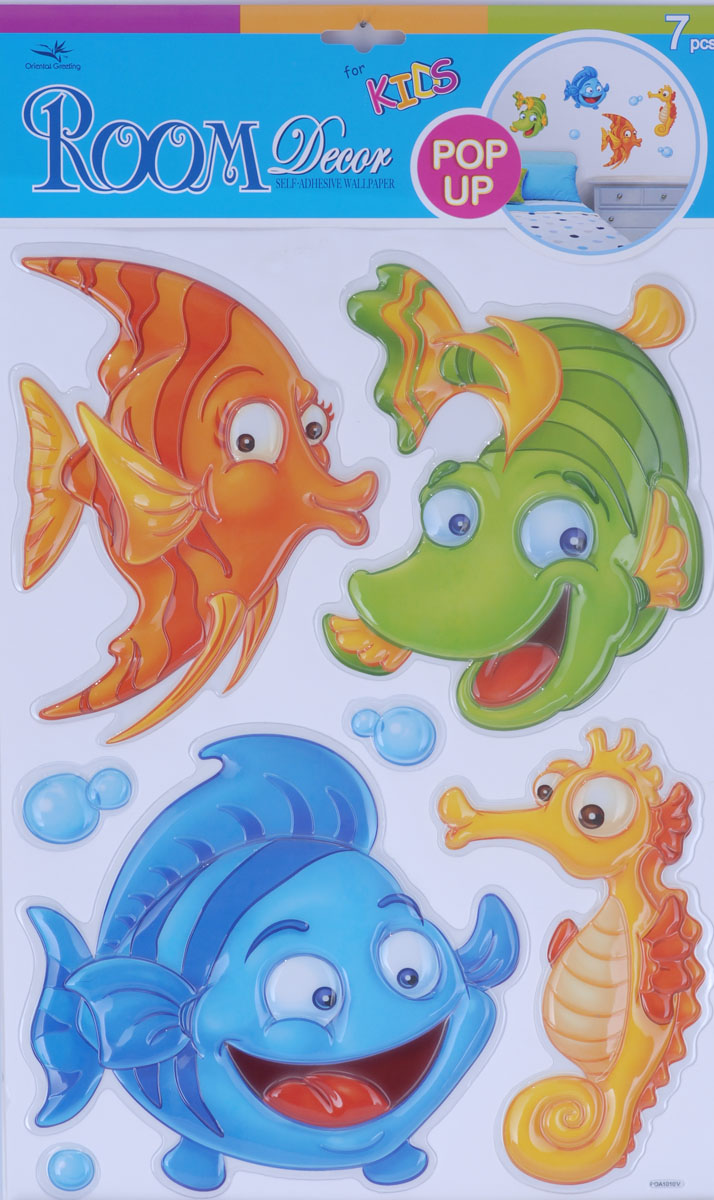 Наклейки для интерьера Room Decoration Рыбки, объемные, 41 х 29 см300074_яблоко, апельсинНаклейки для стен и предметов интерьера Room Decoration Рыбки, изготовленные из экологически безопасной самоклеящейся виниловой пленки - это удивительно простой и быстрый способ оживить интерьер помещения. На одном листе расположены 7 объемных наклеек в виде пузырей и морских обитателей.Интерьерные наклейки дадут вам вдохновение, которое изменит вашу жизнь и поможет погрузиться в мир ярких красок, фантазий и творчества. Для вас открываются безграничные возможности придумать оригинальный дизайн и придать новый вид стенам и мебели. Наклейки абсолютно безопасны для здоровья. Они быстро и легко наклеиваются на любые ровные поверхности: стены, окна, двери, кафельную плитку, виниловые и флизелиновые обои, стекла, мебель. При необходимости удобно снимаются, не оставляют следов и не повреждают поверхность (кроме бумажных обоев). Наклейки Room Decoration Рыбки идеально подойдут для интерьера детской комнаты.