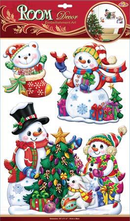Наклейки для интерьера Room Decoration Снеговики, объемные, 41 х 29 см300074_ежевикаНаклейки для стен и предметов интерьера Room Decoration Снеговики, изготовленные из экологически безопасной самоклеящейся виниловой пленки - это удивительно простой и быстрый способ оживить интерьер помещения. На одном листе расположены 3 объемные наклейки в виде Снеговиков, елок и забавного мишки в сапоге.Интерьерные наклейки дадут вам вдохновение, которое изменит вашу жизнь и поможет погрузиться в мир ярких красок, фантазий и творчества. Для вас открываются безграничные возможности придумать оригинальный дизайн и придать новый вид стенам и мебели. Наклейки абсолютно безопасны для здоровья. Они быстро и легко наклеиваются на любые ровные поверхности: стены, окна, двери, кафельную плитку, виниловые и флизелиновые обои, стекла, мебель. При необходимости удобно снимаются, не оставляют следов и не повреждают поверхность (кроме бумажных обоев). Наклейки Room Decoration Снеговики помогут вам создать ощущение праздника.