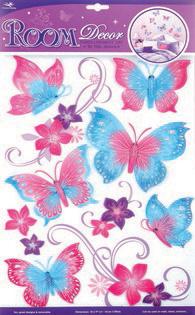 Наклейки для интерьера Room Decoration Бабочки, объемные, 41 см х 29 см. RCA5603