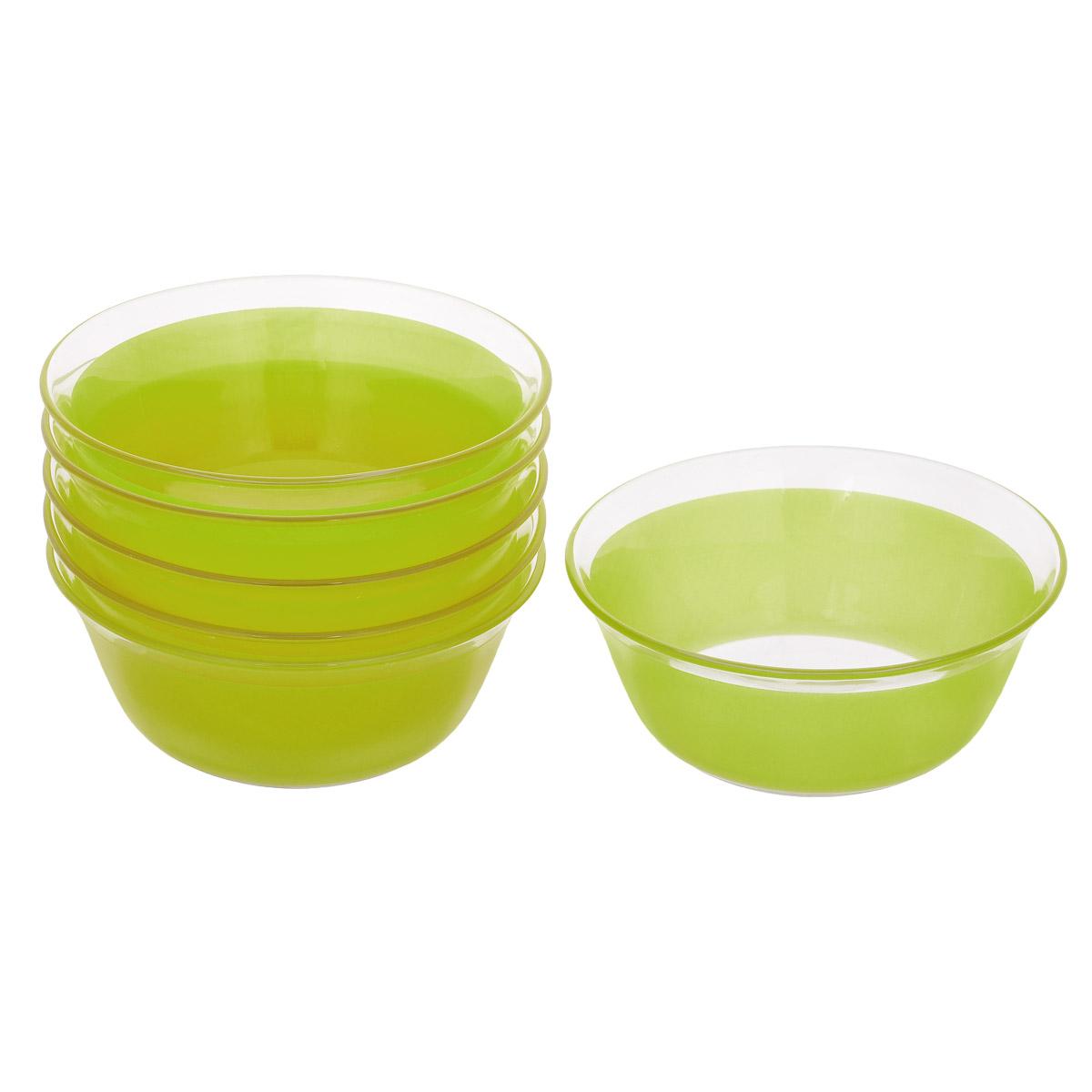 Набор салатников, цвет: зеленый, диаметр 12см, 6 шт. Кт FW50115510Набор салатников, выполненный из стекла, будет уместен на любой кухне и понравится каждой хозяйке. В набор входят шесть салатников, украшенных цветной полосой. Они сочетают в себе изысканный дизайн с максимальной функциональностью. Такой набор салатников придется по вкусу и ценителям классики, и тем, кто предпочитает утонченность и изящность.