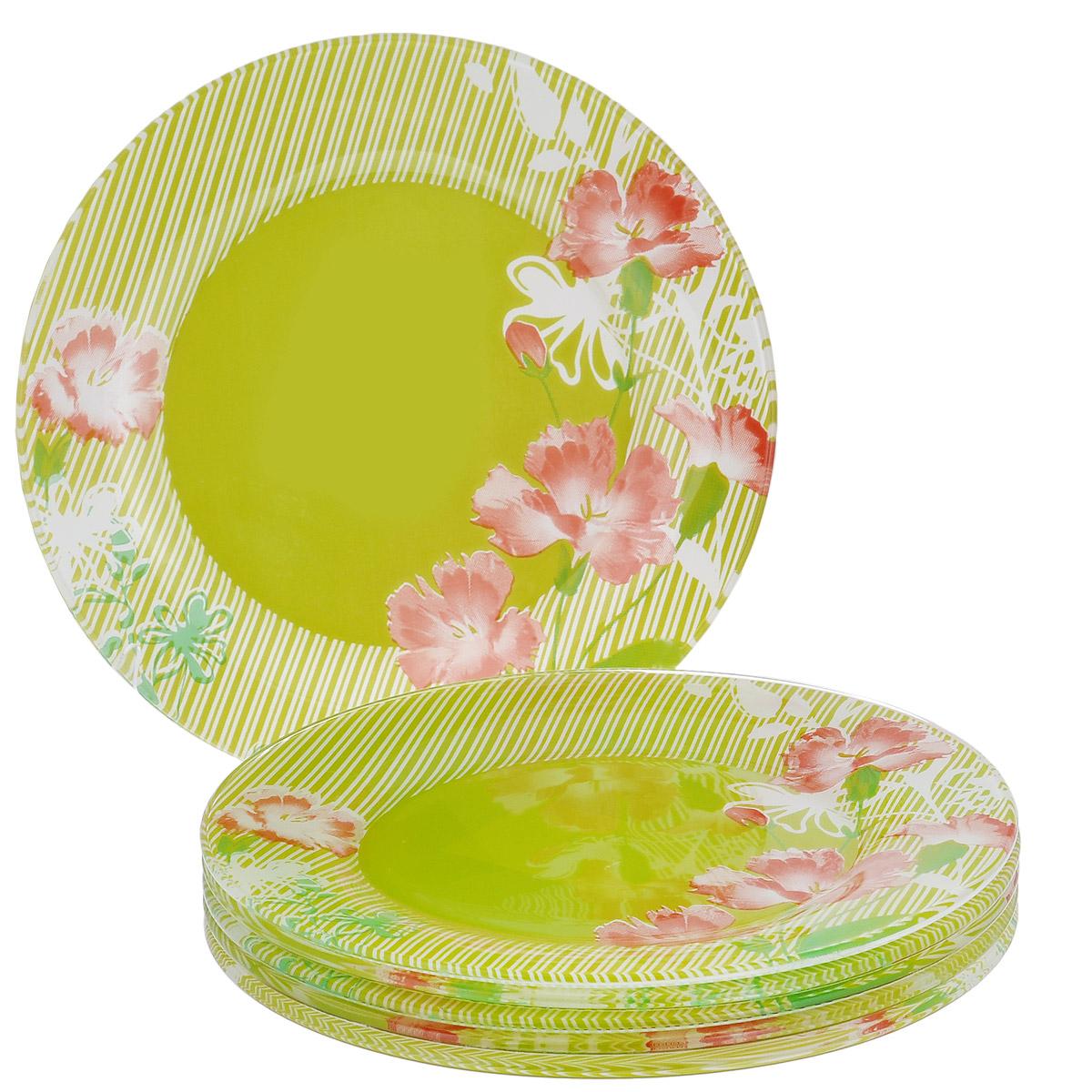 Набор тарелок Цветы, цвет: зеленый, диаметр 17,5 см, 6 шт115510Набор тарелок Цветы, выполненный из высококачественного стекла зеленого цвета, состоит из 6 мелких тарелок. Тарелки оформлены изображением цветов. Они сочетают в себе изысканный дизайн с максимальной функциональностью. Оригинальность оформления тарелок придется по вкусу и ценителям классики, и тем, кто предпочитает утонченность и изящность. Набор тарелок послужит отличным подарком к любому празднику.