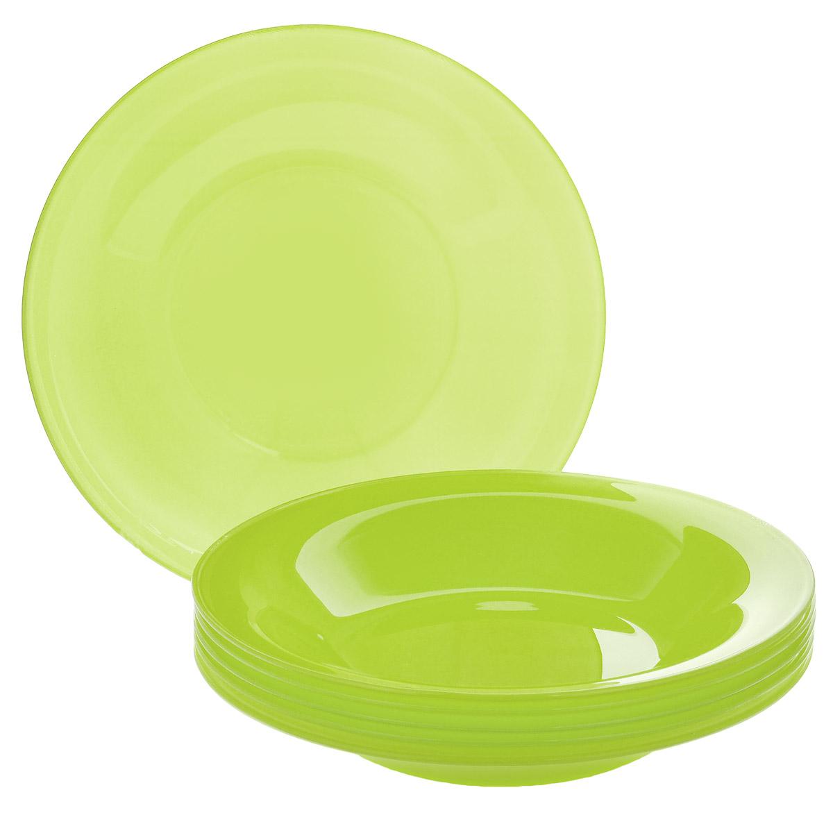Набор глубоких тарелок, цвет: зеленый, диаметр 19 см, 6 шт. Кт FSP75T115510Набор тарелок, выполненный из высококачественного стекла, состоит из 6 глубоких тарелок. Они сочетают в себе изысканный дизайн с максимальной функциональностью. Оригинальность оформления тарелок придется по вкусу и ценителям классики, и тем, кто предпочитает утонченность и изящность. Набор тарелок послужит отличным подарком к любому празднику.