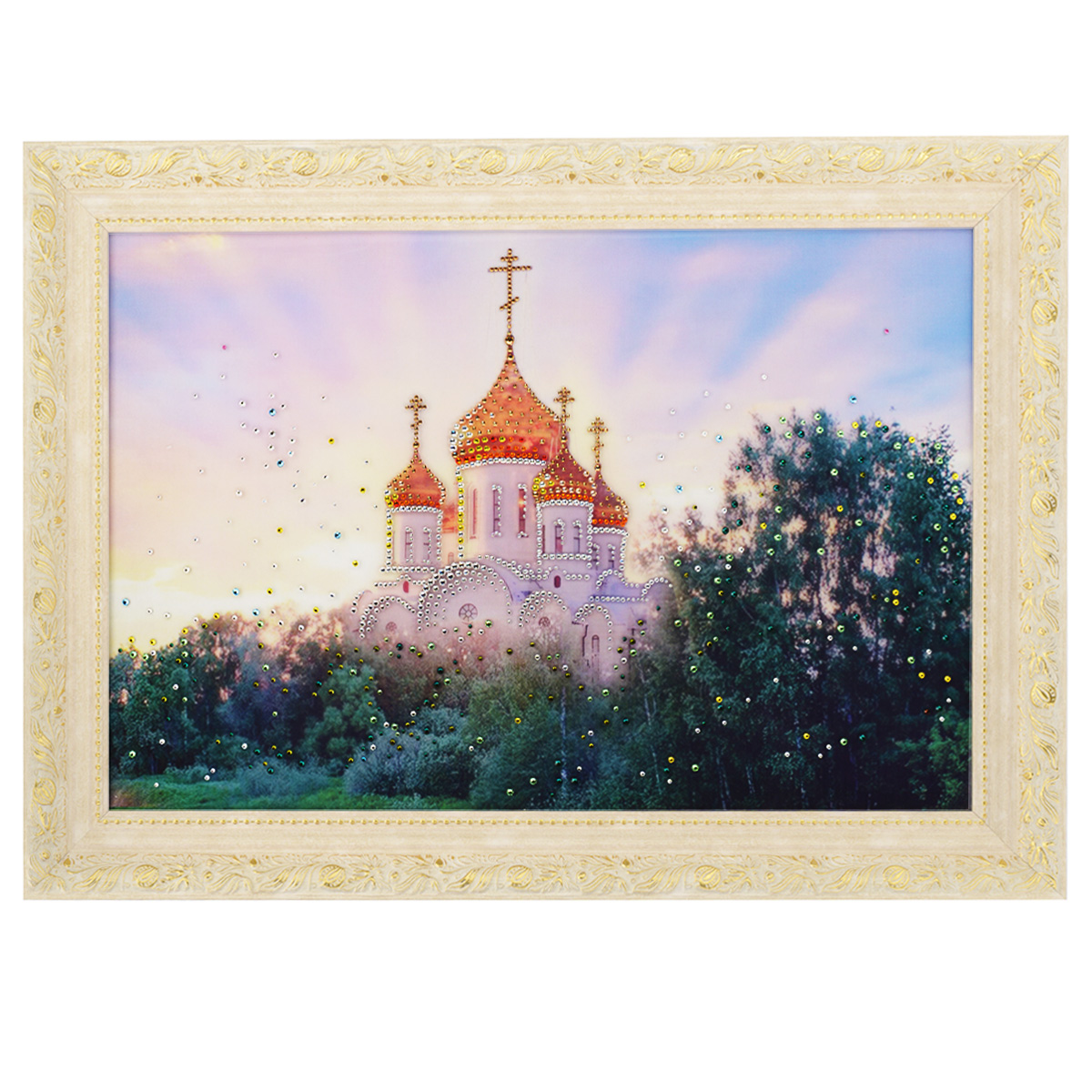 Картина с кристаллами Swarovski В лучах солнца, 70 см х 50 смIDEA CT2-02Изящная картина в багетной раме, инкрустирована кристаллами Swarovski, которые отличаются четкой и ровной огранкой, ярким блеском и чистотой цвета. Красочное изображение церкви, расположенное под стеклом, прекрасно дополняет блеск кристаллов. С обратной стороны имеется металлическая проволока для размещения картины на стене. Картина с кристаллами Swarovski В лучах солнца элегантно украсит интерьер дома или офиса, а также станет прекрасным подарком, который обязательно понравится получателю. Блеск кристаллов в интерьере, что может быть сказочнее и удивительнее. Картина упакована в подарочную картонную коробку синего цвета и комплектуется сертификатом соответствия Swarovski.