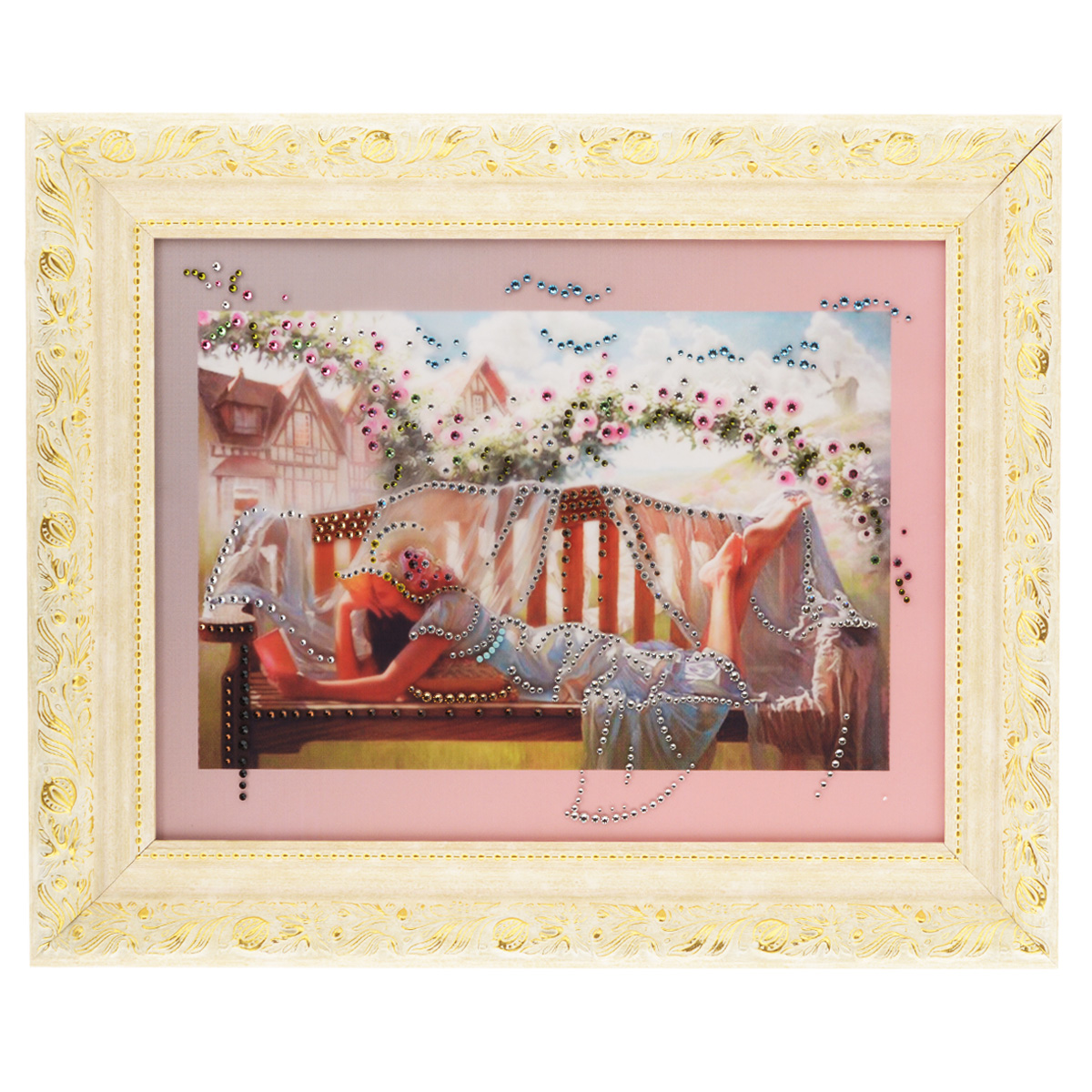 Картина с кристаллами Swarovski В саду, 50 см х 40 смWS0378:360:254:050Изящная картина в багетной раме, инкрустирована кристаллами Swarovski, которые отличаются четкой и ровной огранкой, ярким блеском и чистотой цвета. Красочное изображение девушки читающей книжку в саду, расположенное под стеклом, прекрасно дополняет блеск кристаллов. С обратной стороны имеется металлическая проволока для размещения картины на стене. Картина с кристаллами Swarovski В саду элегантно украсит интерьер дома или офиса, а также станет прекрасным подарком, который обязательно понравится получателю. Блеск кристаллов в интерьере, что может быть сказочнее и удивительнее. Картина упакована в подарочную картонную коробку синего цвета и комплектуется сертификатом соответствия Swarovski.