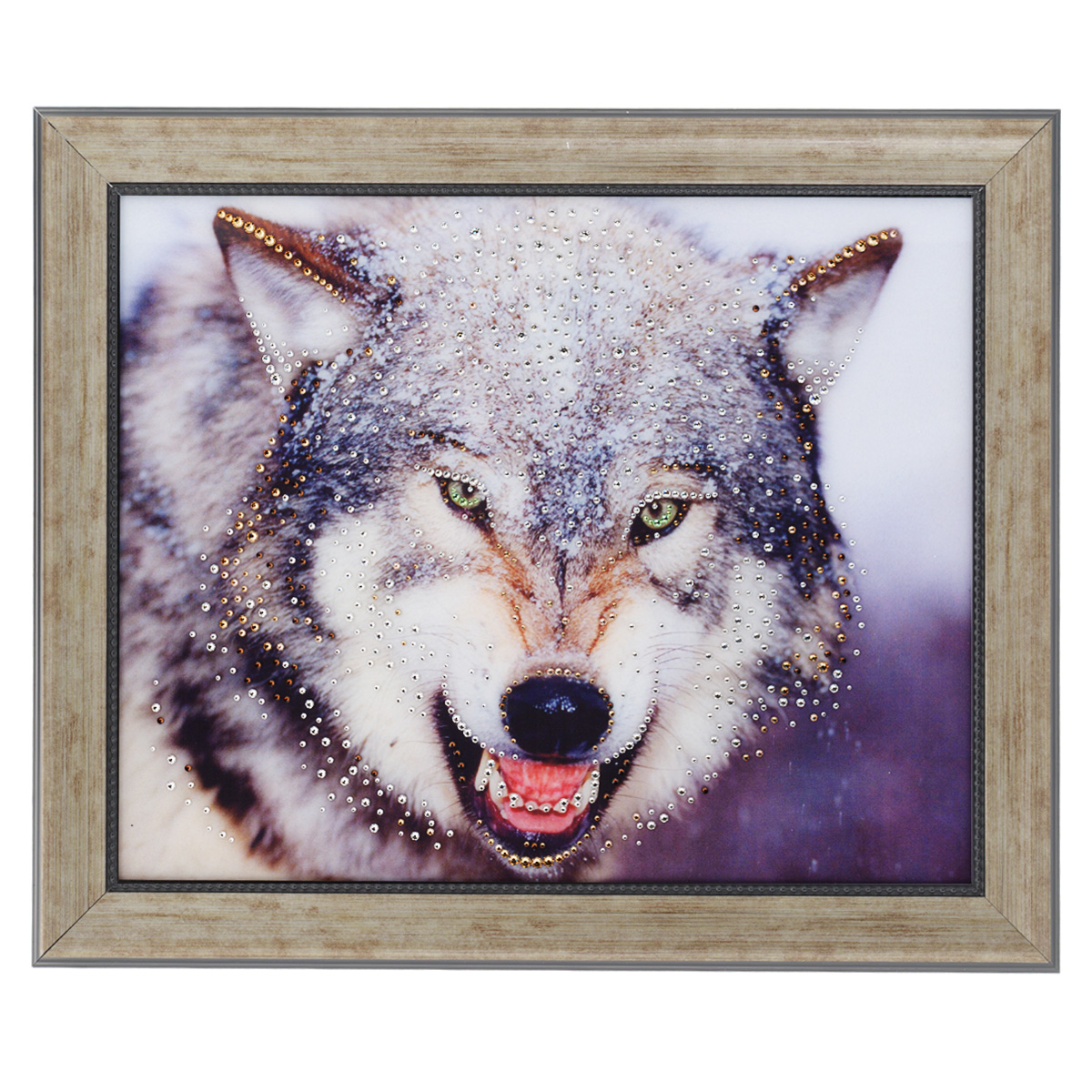 Картина с кристаллами Swarovski Волк, 60 х 50 смSG 14Изящная картина в багетной раме, инкрустирована кристаллами Swarovski, которые отличаются четкой и ровной огранкой, ярким блеском и чистотой цвета. Красочное изображение волка, расположенное под стеклом, прекрасно дополняет блеск кристаллов. С обратной стороны имеется металлическая проволока для размещения картины на стене. Картина с кристаллами Swarovski Волк элегантно украсит интерьер дома или офиса, а также станет прекрасным подарком, который обязательно понравится получателю. Блеск кристаллов в интерьере, что может быть сказочнее и удивительнее. Картина упакована в подарочную картонную коробку синего цвета и комплектуется сертификатом соответствия Swarovski.