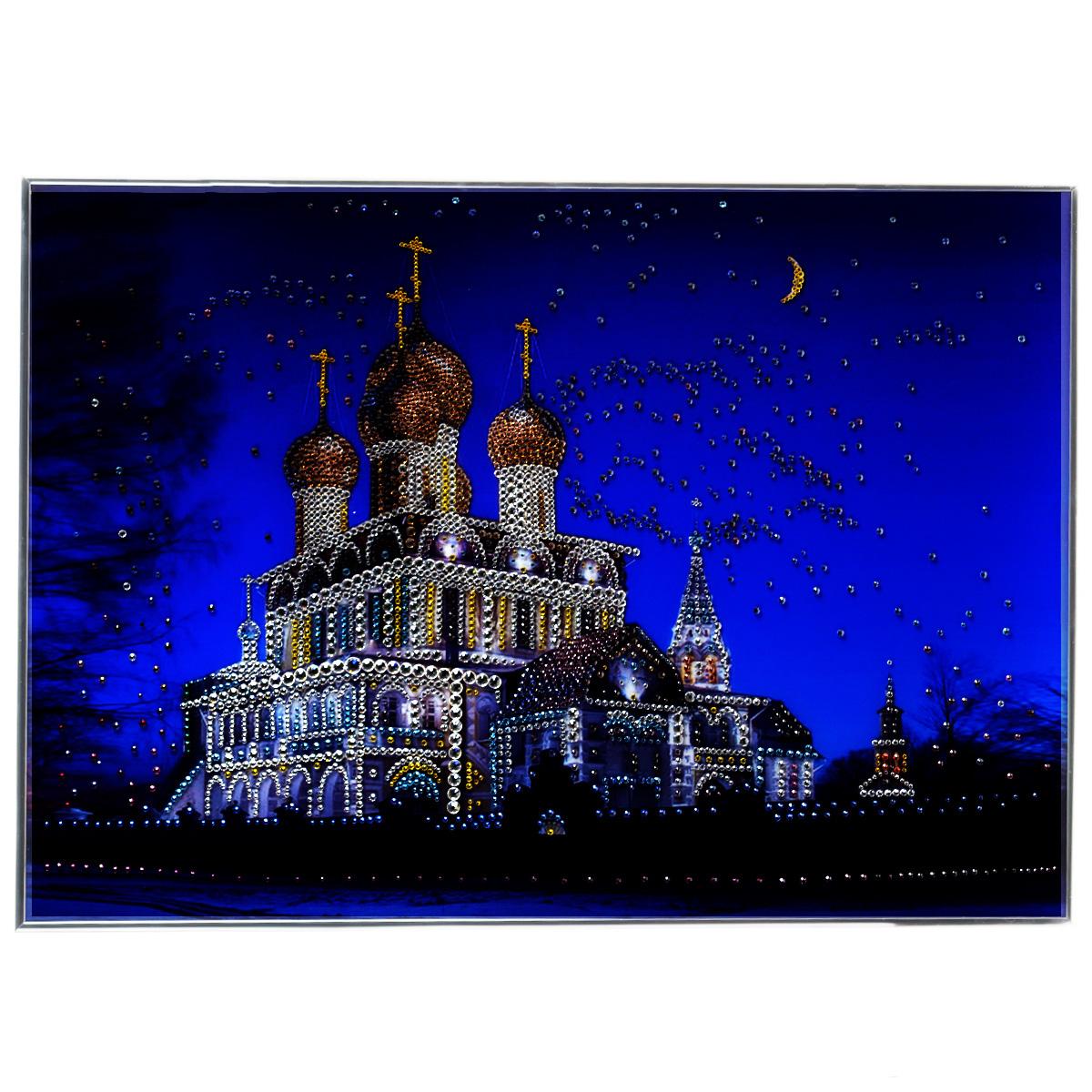 Картина с кристаллами Swarovski Воскресенский собор, 70 см х 50 см29x40 OZ190-50601Изящная картина в металлической раме, инкрустирована кристаллами Swarovski, которые отличаются четкой и ровной огранкой, ярким блеском и чистотой цвета. Красочное изображение Воскресенского собора, расположенное под стеклом, прекрасно дополняет блеск кристаллов. С обратной стороны имеется металлическая петелька для размещения картины на стене. Картина с кристаллами Swarovski Воскресенский собор элегантно украсит интерьер дома или офиса, а также станет прекрасным подарком, который обязательно понравится получателю. Блеск кристаллов в интерьере, что может быть сказочнее и удивительнее. Картина упакована в подарочную картонную коробку синего цвета и комплектуется сертификатом соответствия Swarovski.