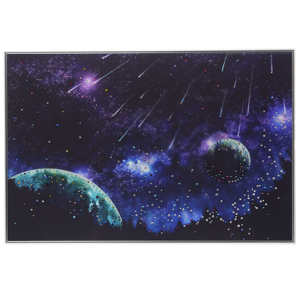Картина с кристаллами Swarovski Звездопад, 60 см х 40 смPM-4004Изящная картина в металлической раме, инкрустирована кристаллами Swarovski, которые отличаются четкой и ровной огранкой, ярким блеском и чистотой цвета. Красочное изображение звездопада, расположенное на внутренней стороне стекла, прекрасно дополняет блеск кристаллов. С обратной стороны имеется металлическая петелька для размещения картины на стене. Картина с кристаллами Swarovski Звездопад элегантно украсит интерьер дома или офиса, а также станет прекрасным подарком, который обязательно понравится получателю. Блеск кристаллов в интерьере, что может быть сказочнее и удивительнее. Картина упакована в подарочную картонную коробку синего цвета и комплектуется сертификатом соответствия Swarovski.