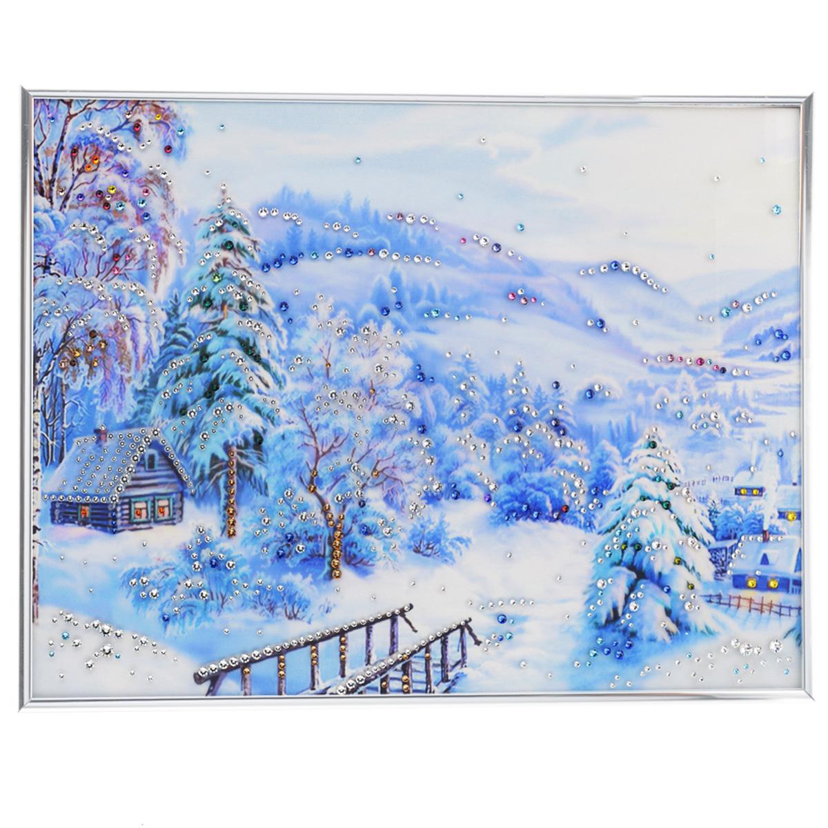 Картина с кристаллами Swarovski Зима, 40 х 30 см1356Изящная картина в металлической раме, инкрустирована кристаллами Swarovski, которые отличаются четкой и ровной огранкой, ярким блеском и чистотой цвета. Красочное изображение зимнего пейзажа, расположенное под стеклом, прекрасно дополняет блеск кристаллов. С обратной стороны имеется металлическая петелька для размещения картины на стене. Картина с кристаллами Swarovski Зима элегантно украсит интерьер дома или офиса, а также станет прекрасным подарком, который обязательно понравится получателю. Блеск кристаллов в интерьере, что может быть сказочнее и удивительнее. Картина упакована в подарочную картонную коробку синего цвета и комплектуется сертификатом соответствия Swarovski.