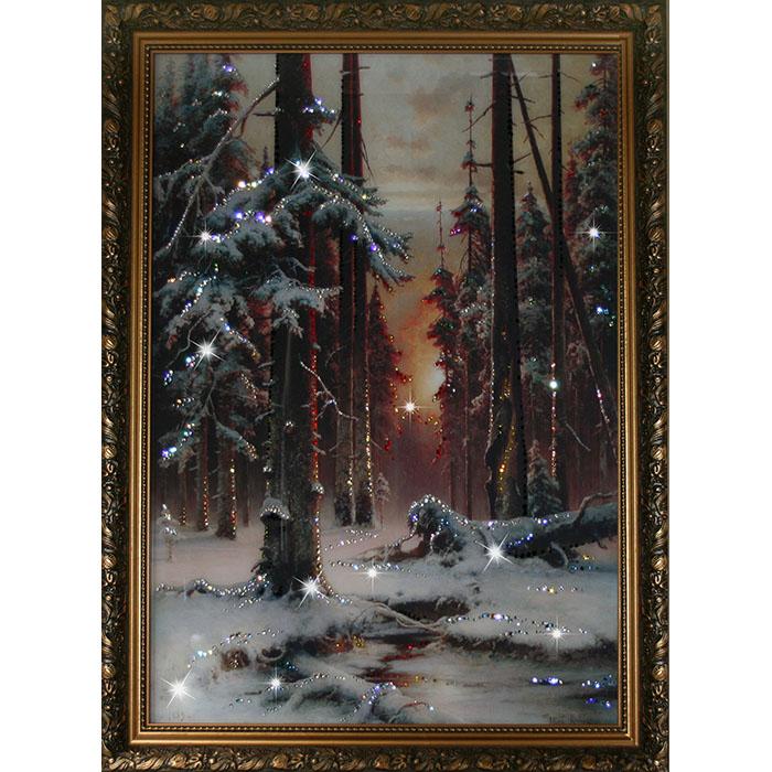 1113 Картина Сваровски Зимний закат в еловом лесу853063Количество кристаллов: 1520.Материал: стекло, хрусталь, алюминий.Размер товара, см: 70х90.