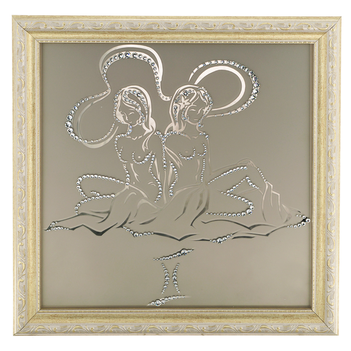 Картина с кристаллами Swarovski Знак зодиака. Близнецы, 35 см х 35 см