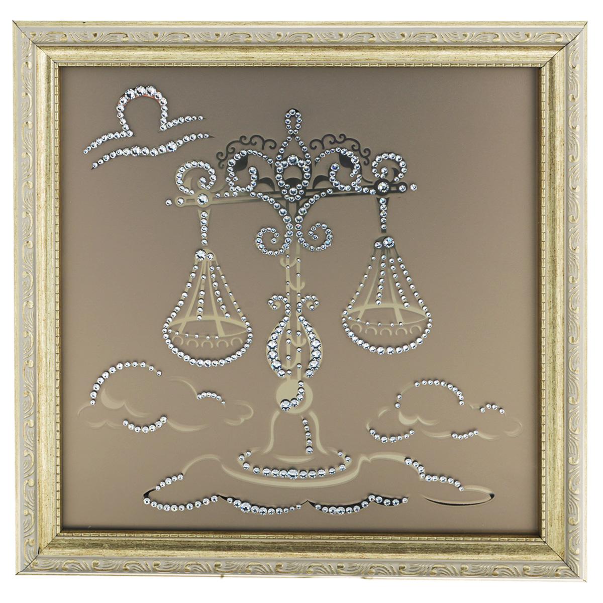 Картина с кристаллами Swarovski Знак зодиака. Весы, 35 х 35 см
