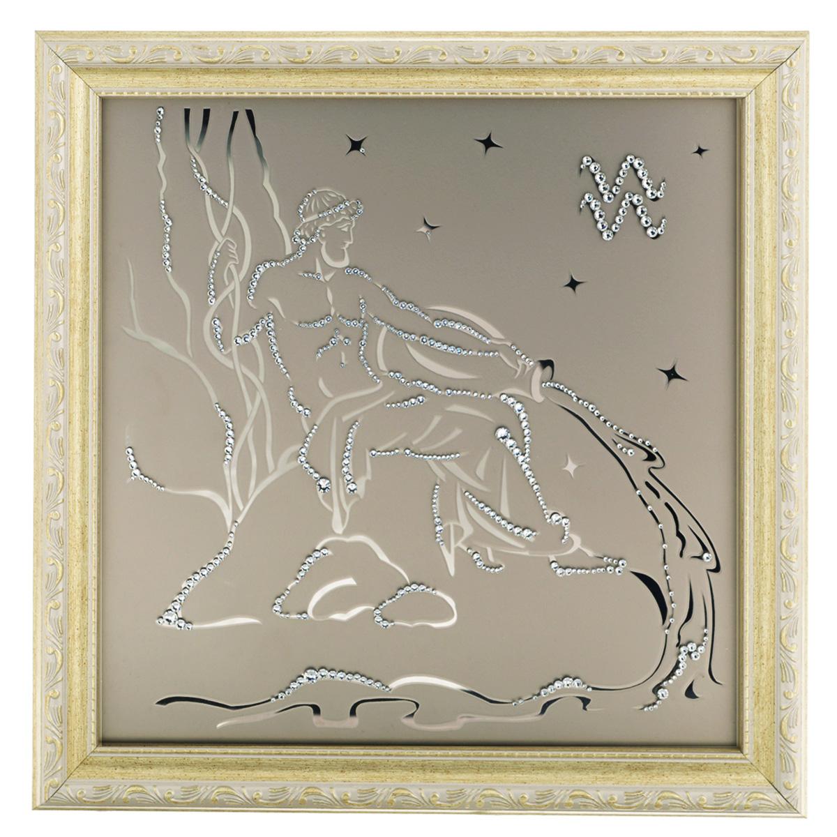 Картина с кристаллами Swarovski Знак зодиака. Водолей, 35 см х 35 смAL-022Изящная картина в багетной раме, инкрустирована кристаллами Swarovski в виде знака зодиака - Водолей на матовом стекле золотистого цвета. Кристаллы Swarovski отличаются четкой и ровной огранкой, ярким блеском и чистотой цвета. С обратной стороны имеется металлическая проволока для размещения картины на стене. Картина с кристаллами Swarovski Знак зодиака. Водолей элегантно украсит интерьер дома или офиса, а также станет прекрасным подарком, который обязательно понравится получателю. Блеск кристаллов в интерьере, что может быть сказочнее и удивительнее. Картина упакована в подарочную картонную коробку синего цвета и комплектуется сертификатом соответствия Swarovski.