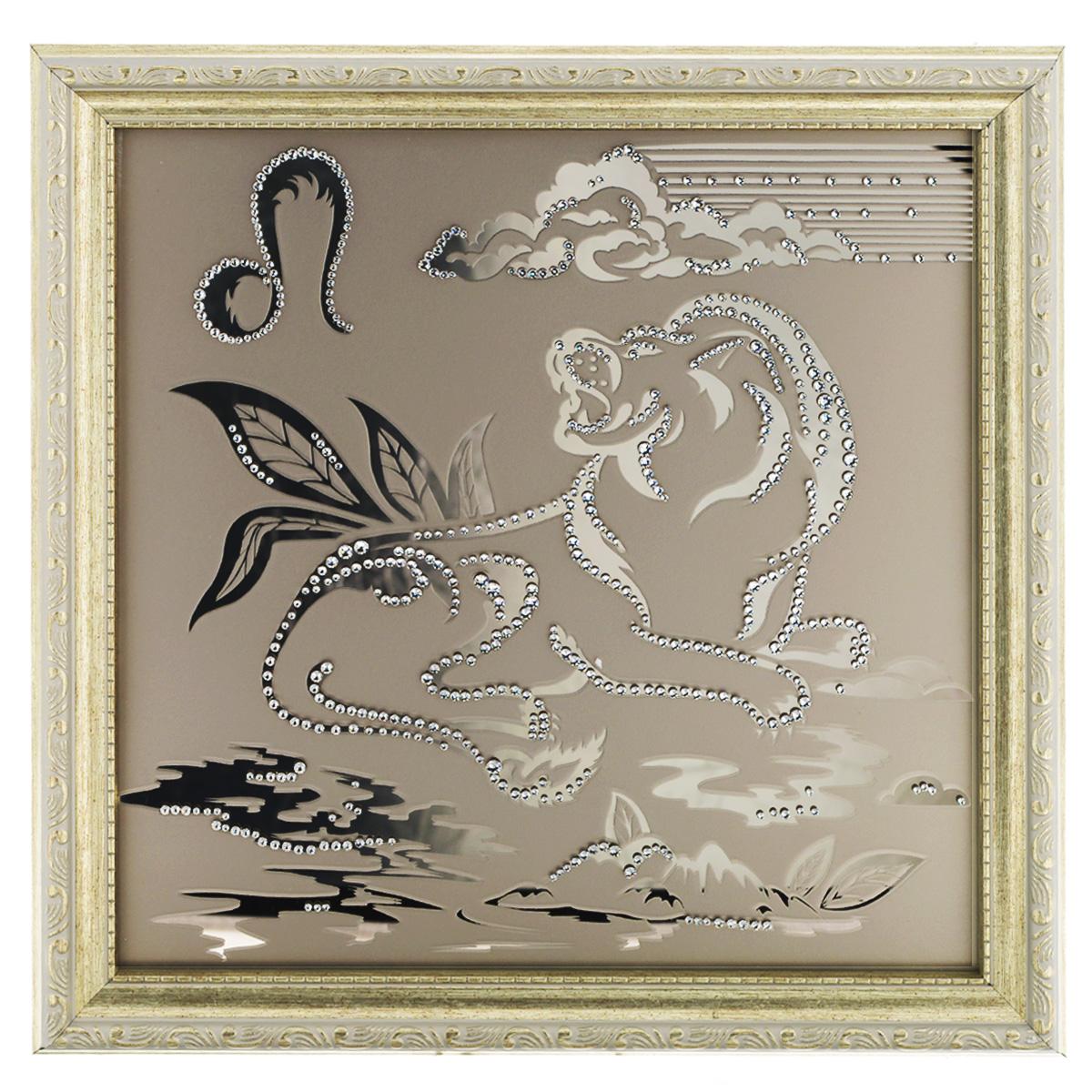 Картина с кристаллами Swarovski Знак зодиака. Лев, 35 см х 35 смPM-3001Изящная картина в багетной раме, инкрустирована кристаллами Swarovski в виде знака зодиака - Лев на матовом стекле золотистого цвета. Кристаллы Swarovski отличаются четкой и ровной огранкой, ярким блеском и чистотой цвета. С обратной стороны имеется металлическая проволока для размещения картины на стене. Картина с кристаллами Swarovski Знак зодиака. Лев элегантно украсит интерьер дома или офиса, а также станет прекрасным подарком, который обязательно понравится получателю. Блеск кристаллов в интерьере, что может быть сказочнее и удивительнее. Картина упакована в подарочную картонную коробку синего цвета и комплектуется сертификатом соответствия Swarovski.