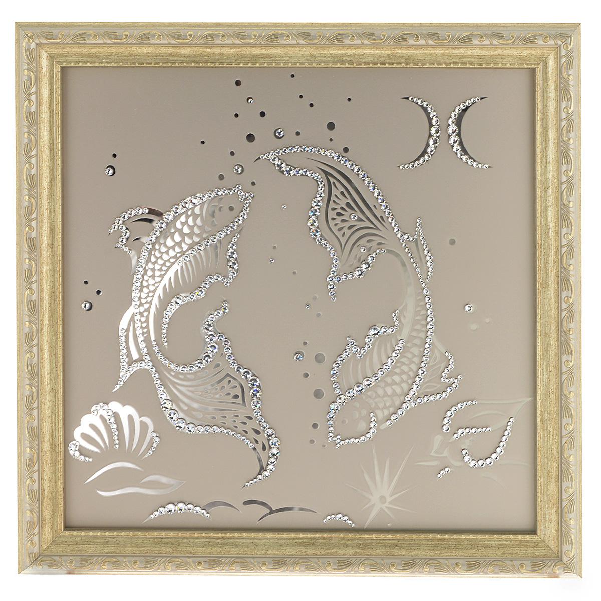 Картина с кристаллами Swarovski Знак зодиака. Рыбы, 35 см х 35 см