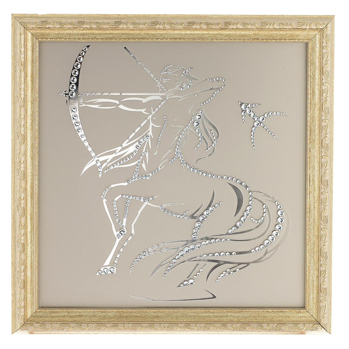 Картина с кристаллами Swarovski Знак зодиака. Стрелец, 35 х 35 см12723Изящная картина в багетной раме Знак зодиака. Стрелец инкрустирована кристаллами Swarovski, которые отличаются четкой и ровной огранкой, ярким блеском и чистотой цвета. Идеально подобранная палитра кристаллов прекрасно дополняет картину. С задней стороны изделие оснащено проволокой для размещения на стене. Картина с кристаллами Swarovski элегантно украсит интерьер дома, а также станет прекрасным подарком, который обязательно понравится получателю. Блеск кристаллов в интерьере - что может быть сказочнее и удивительнее. Изделие упаковано в подарочную картонную коробку синего цвета и комплектуется сертификатом соответствия Swarovski.