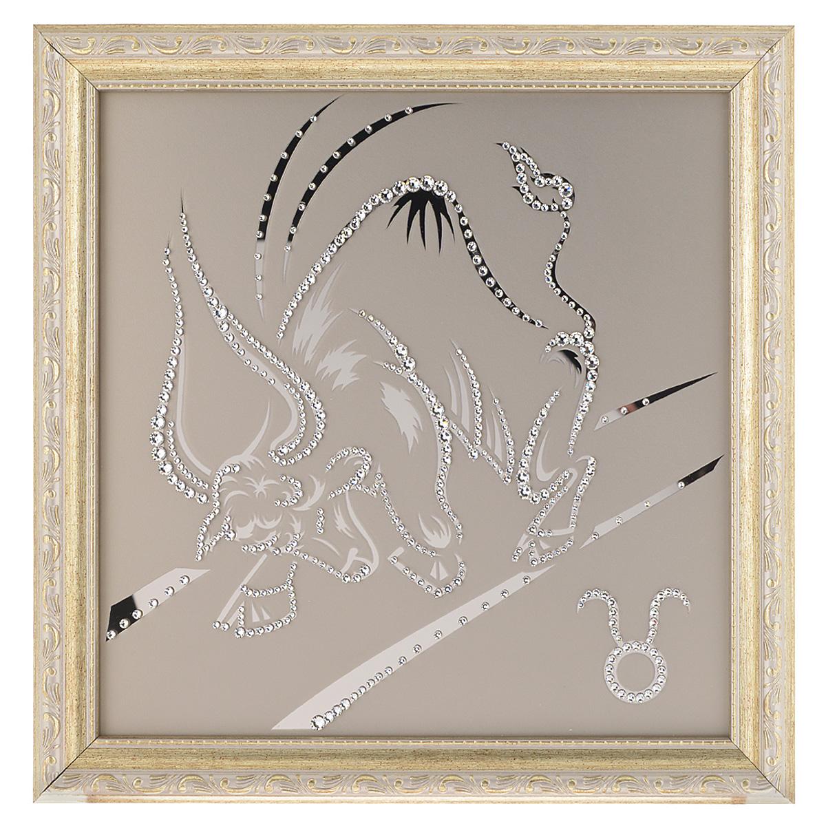 Картина с кристаллами Swarovski Знак зодиака. Телец, 35 см х 35 см