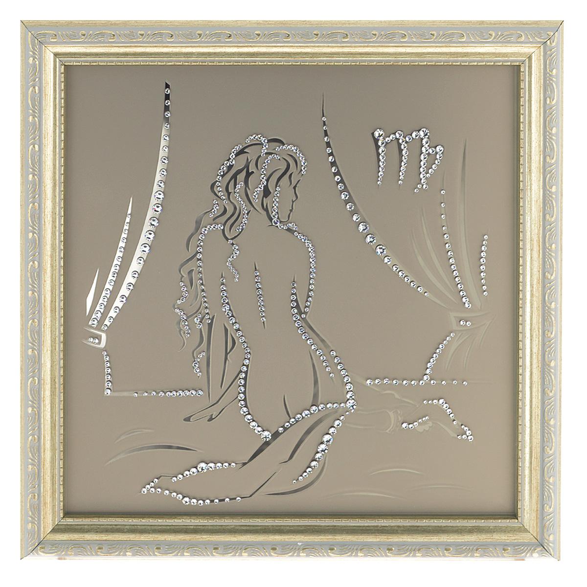 Картина с кристаллами Swarovski Знак зодиака. Дева, 35 х 35 см12723Изящная картина в багетной раме Знак зодиака. Дева инкрустирована кристаллами Swarovski, которые отличаются четкой и ровной огранкой, ярким блеском и чистотой цвета. Идеально подобранная палитра кристаллов прекрасно дополняет картину. С задней стороны изделие оснащено проволокой для размещения на стене. Картина с кристаллами Swarovski элегантно украсит интерьер дома, а также станет прекрасным подарком, который обязательно понравится получателю. Блеск кристаллов в интерьере - что может быть сказочнее и удивительнее. Изделие упаковано в подарочную картонную коробку синего цвета и комплектуется сертификатом соответствия Swarovski.