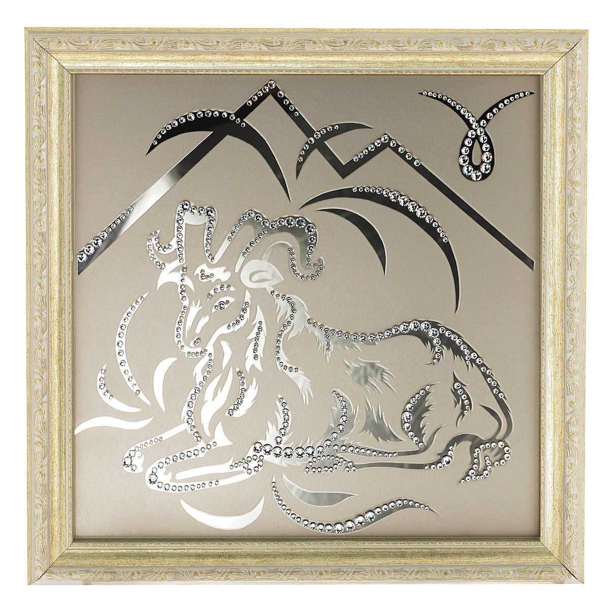 Картина с кристаллами Swarovski Знак зодиака. Овен, 35 см х 35 смAG 40-07Изящная картина в багетной раме Знак зодиака. Овен инкрустирована кристаллами Swarovski, которые отличаются четкой и ровной огранкой, ярким блеском и чистотой цвета. Идеально подобранная палитра кристаллов прекрасно дополняет картину. С задней стороны изделие оснащено проволокой для размещения на стене. Картина с кристаллами Swarovski элегантно украсит интерьер дома, а также станет прекрасным подарком, который обязательно понравится получателю. Блеск кристаллов в интерьере - что может быть сказочнее и удивительнее. Изделие упаковано в подарочную картонную коробку синего цвета и комплектуется сертификатом соответствия Swarovski.