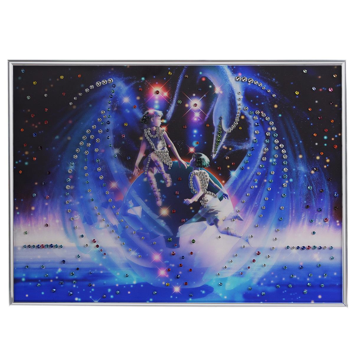 Картина с кристаллами Swarovski Знак зодиака. Близнецы Кагая, 40 см х 60 см97678Изящная картина в металлической раме, инкрустирована кристаллами Swarovski, которые отличаются четкой и ровной огранкой, ярким блеском и чистотой цвета. Красочное изображение знака зодиака - близнецы Кагая, расположенное на внутренней стороне стекла, прекрасно дополняет блеск кристаллов. С обратной стороны имеется металлическая петелька для размещения картины на стене.Картина с кристаллами Swarovski Знак зодиака. Близнецы Кагая элегантно украсит интерьер дома или офиса, а также станет прекрасным подарком, который обязательно понравится получателю. Блеск кристаллов в интерьере, что может быть сказочнее и удивительнее. Картина упакована в подарочную картонную коробку синего цвета и комплектуется сертификатом соответствия Swarovski.