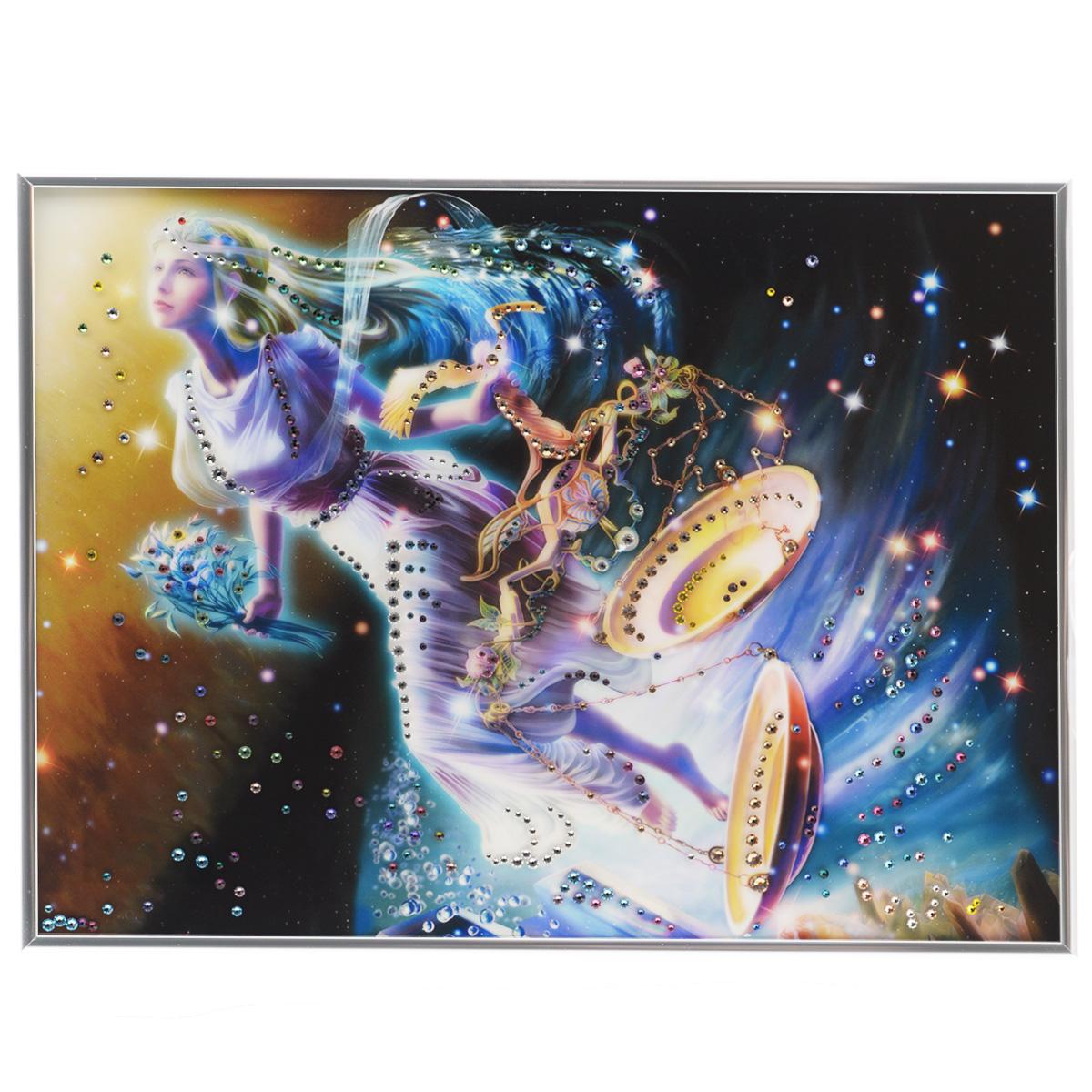 Картина с кристаллами Swarovski Знак зодиака. Весы Кагая, 40 х 30 см853098Изящная картина в металлической раме, инкрустирована кристаллами Swarovski, которые отличаются четкой и ровной огранкой, ярким блеском и чистотой цвета. Красочное изображение знака зодиака - весы Кагая, расположенное под стеклом, прекрасно дополняет блеск кристаллов. С обратной стороны имеется металлическая петелька для размещения картины на стене. Картина с кристаллами Swarovski Знак зодиака. Весы Кагая элегантно украсит интерьер дома или офиса, а также станет прекрасным подарком, который обязательно понравится получателю. Блеск кристаллов в интерьере, что может быть сказочнее и удивительнее. Картина упакована в подарочную картонную коробку синего цвета и комплектуется сертификатом соответствия Swarovski.