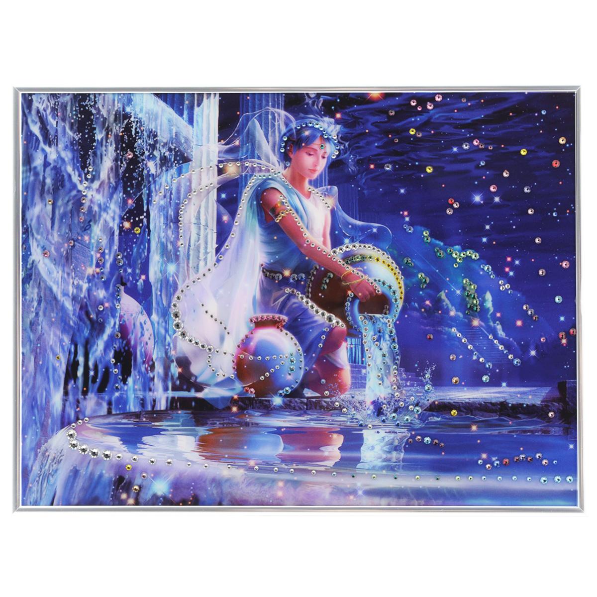 Картина с кристаллами Swarovski Знак зодиака. Водолей Кагая, 40 см х 30 см853098Изящная картина в металлической раме, инкрустирована кристаллами Swarovski, которые отличаются четкой и ровной огранкой, ярким блеском и чистотой цвета. Красочное изображение знака зодиака - водолей Кагая, расположенное под стеклом, прекрасно дополняет блеск кристаллов. С обратной стороны имеется металлическая петелька для размещения картины на стене. Картина с кристаллами Swarovski Знак зодиака. Водолей Кагая элегантно украсит интерьер дома или офиса, а также станет прекрасным подарком, который обязательно понравится получателю. Блеск кристаллов в интерьере, что может быть сказочнее и удивительнее. Картина упакована в подарочную картонную коробку синего цвета и комплектуется сертификатом соответствия Swarovski.