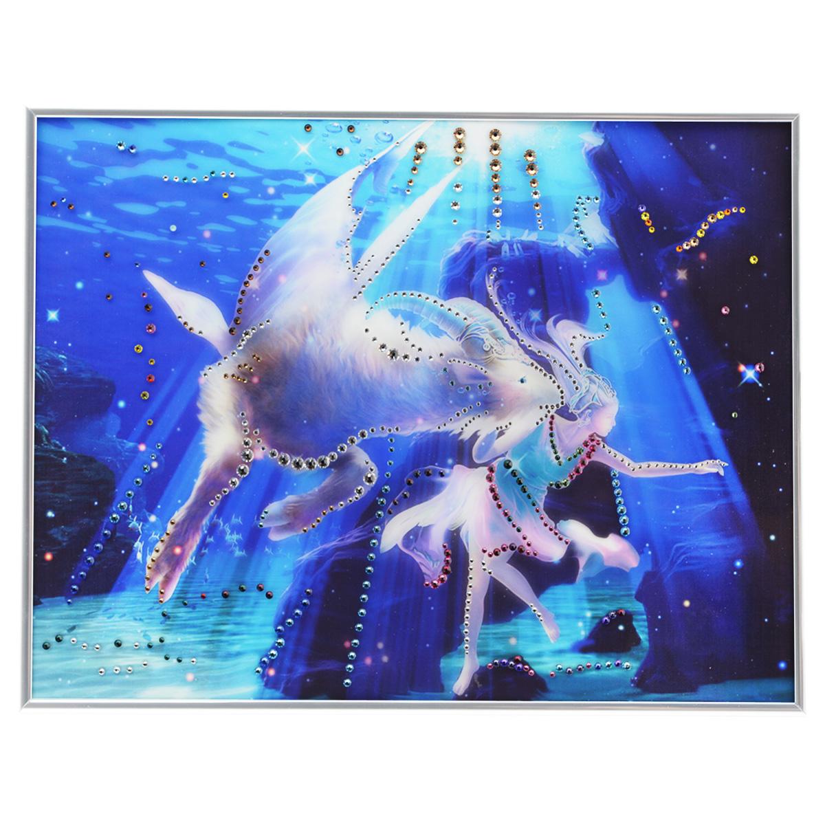Картина с кристаллами Swarovski Знак зодиака. Козерог Кагая, 40 см х 30 см91589Изящная картина в металлической раме, инкрустирована кристаллами Swarovski, которые отличаются четкой и ровной огранкой, ярким блеском и чистотой цвета. Красочное изображение знака зодиака - козерог Кагая, расположенное под стеклом, прекрасно дополняет блеск кристаллов. С обратной стороны имеется металлическая петелька для размещения картины на стене. Картина с кристаллами Swarovski Знак зодиака. Козерог Кагая элегантно украсит интерьер дома или офиса, а также станет прекрасным подарком, который обязательно понравится получателю. Блеск кристаллов в интерьере, что может быть сказочнее и удивительнее. Картина упакована в подарочную картонную коробку синего цвета и комплектуется сертификатом соответствия Swarovski.