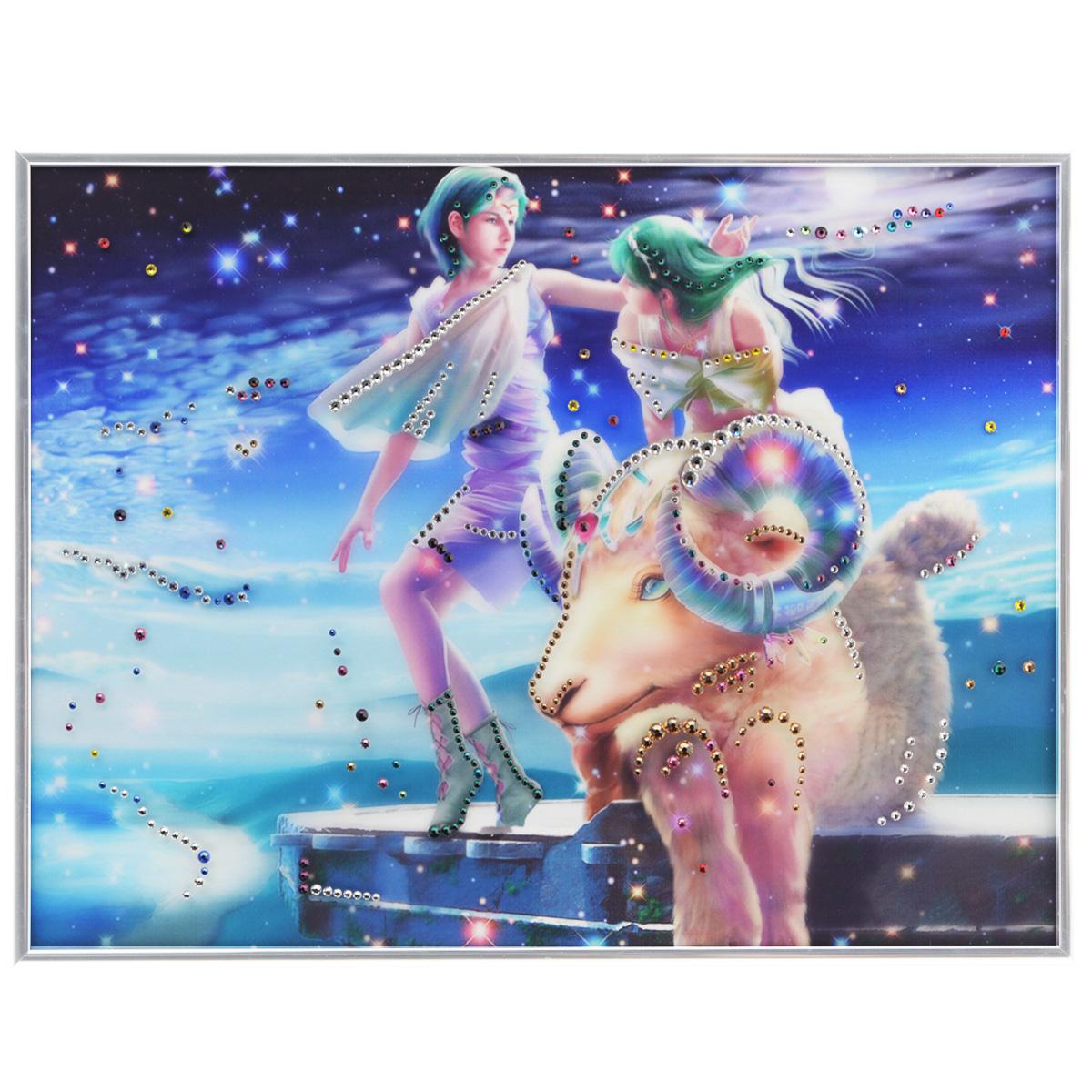 Картина с кристаллами Swarovski Знак зодиака. Овен Кагая, 40 см х 30 смPM-3302Изящная картина в металлической раме, инкрустирована кристаллами Swarovski, которые отличаются четкой и ровной огранкой, ярким блеском и чистотой цвета. Красочное изображение знака зодиака - овен Кагая, расположенное под стеклом, прекрасно дополняет блеск кристаллов. С обратной стороны имеется металлическая петелька для размещения картины на стене. Картина с кристаллами Swarovski Знак зодиака. Овен Кагая элегантно украсит интерьер дома или офиса, а также станет прекрасным подарком, который обязательно понравится получателю. Блеск кристаллов в интерьере, что может быть сказочнее и удивительнее. Картина упакована в подарочную картонную коробку синего цвета и комплектуется сертификатом соответствия Swarovski.
