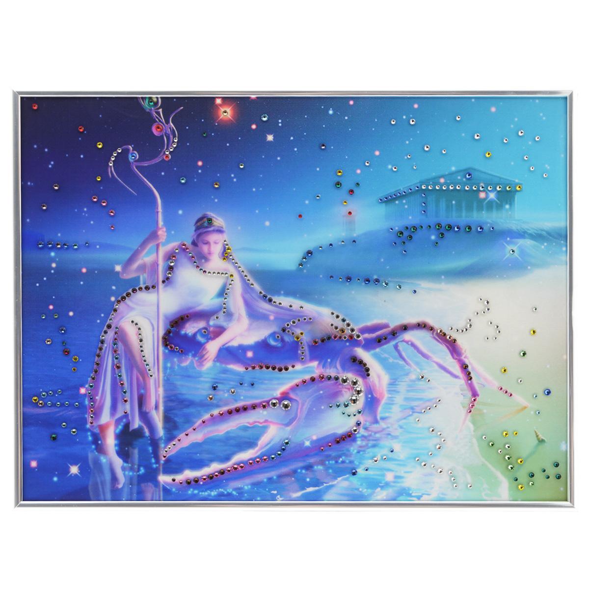 Картина с кристаллами Swarovski Знак зодиака. Рак Кагая, 40 х 30 смPM-3003Изящная картина в металлической раме, инкрустирована кристаллами Swarovski, которые отличаются четкой и ровной огранкой, ярким блеском и чистотой цвета. Красочное изображение знака зодиака - рак Кагая, расположенное под стеклом, прекрасно дополняет блеск кристаллов. С обратной стороны имеется металлическая петелька для размещения картины на стене. Картина с кристаллами Swarovski Знак зодиака. Рак Кагая элегантно украсит интерьер дома или офиса, а также станет прекрасным подарком, который обязательно понравится получателю. Блеск кристаллов в интерьере, что может быть сказочнее и удивительнее. Картина упакована в подарочную картонную коробку синего цвета и комплектуется сертификатом соответствия Swarovski.