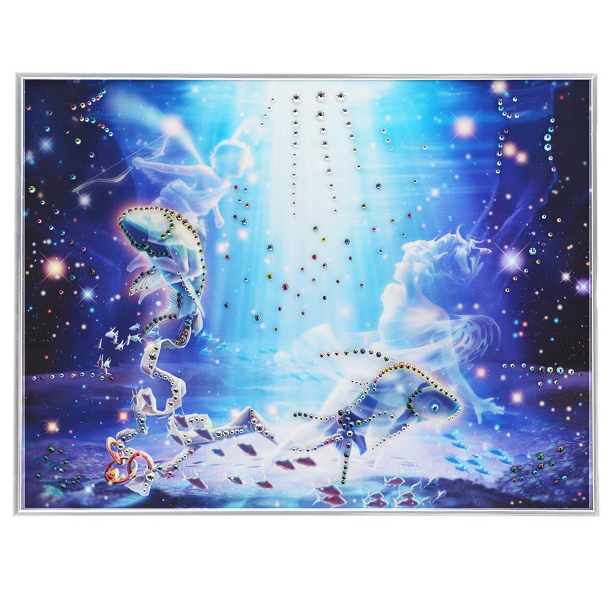 Картина с кристаллами Swarovski Знак зодиака. Рыбы Кагая, 40 см х 30 см879460Изящная картина в металлической раме, инкрустирована кристаллами Swarovski, которые отличаются четкой и ровной огранкой, ярким блеском и чистотой цвета. Красочное изображение знака зодиака - рыбы Кагая, расположенное под стеклом, прекрасно дополняет блеск кристаллов. С обратной стороны имеется металлическая петелька для размещения картины на стене. Картина с кристаллами Swarovski Знак зодиака. Рыбы Кагая элегантно украсит интерьер дома или офиса, а также станет прекрасным подарком, который обязательно понравится получателю. Блеск кристаллов в интерьере, что может быть сказочнее и удивительнее. Картина упакована в подарочную картонную коробку синего цвета и комплектуется сертификатом соответствия Swarovski.