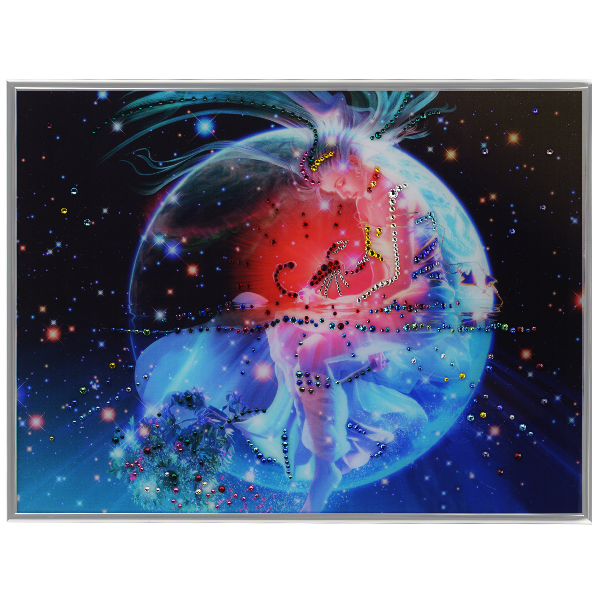 Картина с кристаллами Swarovski Знак зодиака. Скорпион Кагая, 40 х 30 см25051 7_желтыйИзящная картина в металлической раме, инкрустирована кристаллами Swarovski, которые отличаются четкой и ровной огранкой, ярким блеском и чистотой цвета. Красочное изображение знака зодиака - скорпион Кагая, расположенное под стеклом, прекрасно дополняет блеск кристаллов. С обратной стороны имеется металлическая петелька для размещения картины на стене. Картина с кристаллами Swarovski Знак зодиака. Скорпион Кагая элегантно украсит интерьер дома или офиса, а также станет прекрасным подарком, который обязательно понравится получателю. Блеск кристаллов в интерьере, что может быть сказочнее и удивительнее. Картина упакована в подарочную картонную коробку синего цвета и комплектуется сертификатом соответствия Swarovski.