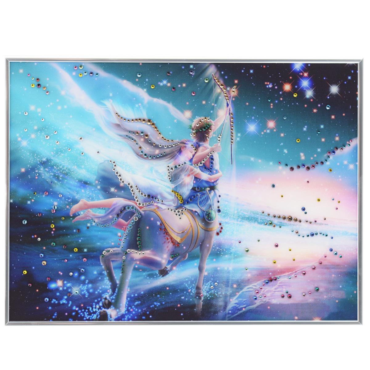Картина с кристаллами Swarovski Знак зодиака. Стрелец Кагая, 40 см х 30 см8-531Изящная картина в металлической раме, инкрустирована кристаллами Swarovski, которые отличаются четкой и ровной огранкой, ярким блеском и чистотой цвета. Красочное изображение знака зодиака - стрелец Кагая, расположенное под стеклом, прекрасно дополняет блеск кристаллов. С обратной стороны имеется металлическая петелька для размещения картины на стене. Картина с кристаллами Swarovski Знак зодиака. Стрелец Кагая элегантно украсит интерьер дома или офиса, а также станет прекрасным подарком, который обязательно понравится получателю. Блеск кристаллов в интерьере, что может быть сказочнее и удивительнее. Картина упакована в подарочную картонную коробку синего цвета и комплектуется сертификатом соответствия Swarovski.