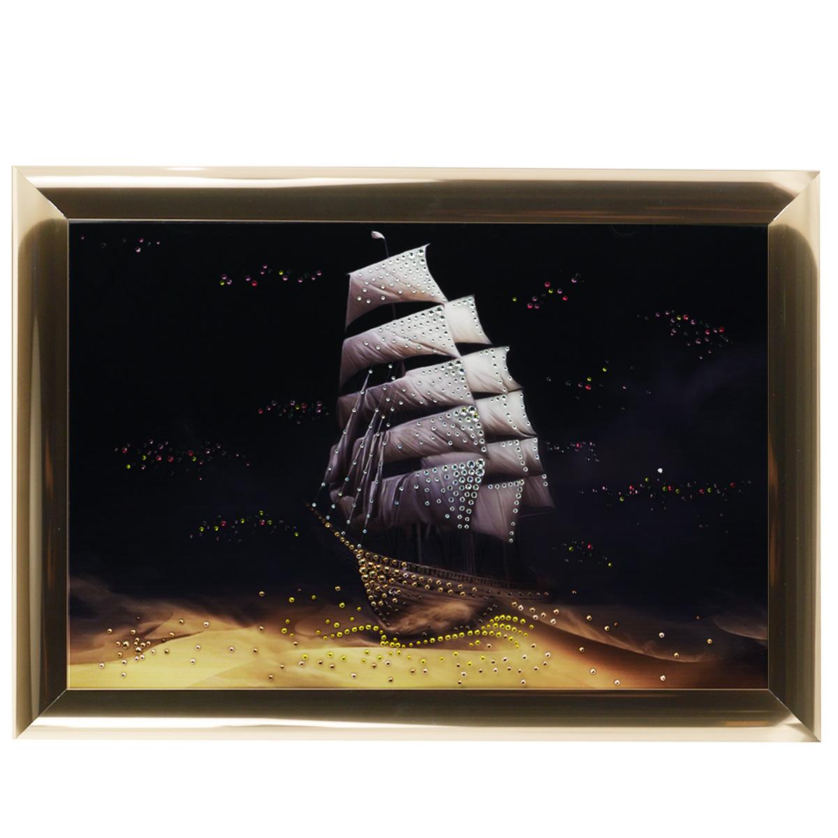 Картина с кристаллами Swarovski Корабль пустыни, 67 х 47 см296665Изящная картина в багетной раме, инкрустирована кристаллами Swarovski, которые отличаются четкой и ровной огранкой, ярким блеском и чистотой цвета. Красочное изображение корабля в пустыни, расположенное на внутренней стороне стекла, прекрасно дополняет блеск кристаллов. С обратной стороны имеется металлическая проволока для размещения картины на стене. Картина с кристаллами Swarovski Корабль пустыни элегантно украсит интерьер дома или офиса, а также станет прекрасным подарком, который обязательно понравится получателю. Блеск кристаллов в интерьере, что может быть сказочнее и удивительнее. Картина упакована в подарочную картонную коробку синего цвета и комплектуется сертификатом соответствия Swarovski.