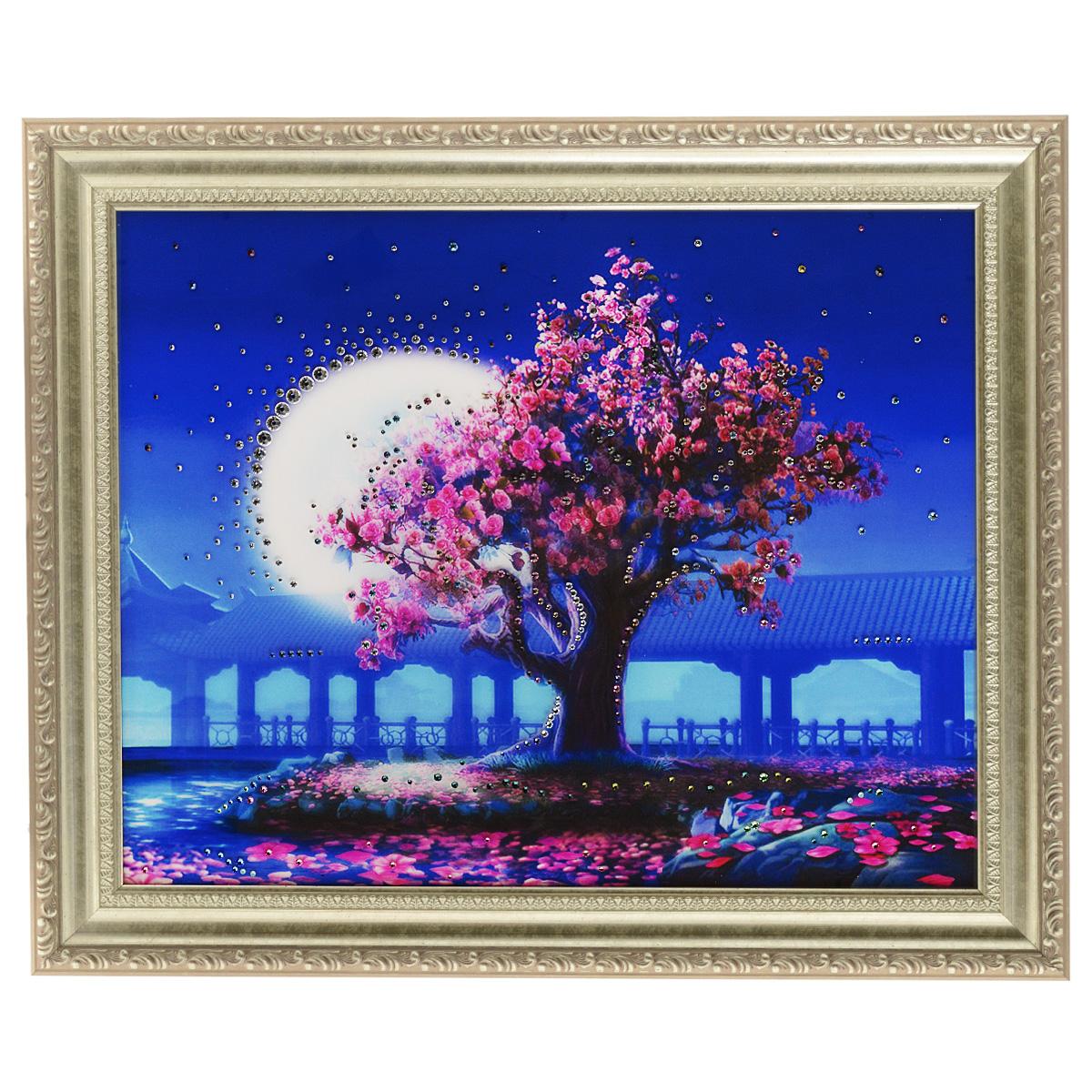 Картина с кристаллами Swarovski Лунный свет, 60 х 50 смNI 22Изящная картина в багетной раме, инкрустирована кристаллами Swarovski, которые отличаются четкой и ровной огранкой, ярким блеском и чистотой цвета. Красочное изображение сада в лунном свете, расположенное на внутренней стороне стекла, прекрасно дополняет блеск кристаллов. С обратной стороны имеется металлическая проволока для размещения картины на стене. Картина с кристаллами Swarovski Лунный свет элегантно украсит интерьер дома или офиса, а также станет прекрасным подарком, который обязательно понравится получателю. Блеск кристаллов в интерьере, что может быть сказочнее и удивительнее. Картина упакована в подарочную картонную коробку синего цвета и комплектуется сертификатом соответствия Swarovski.