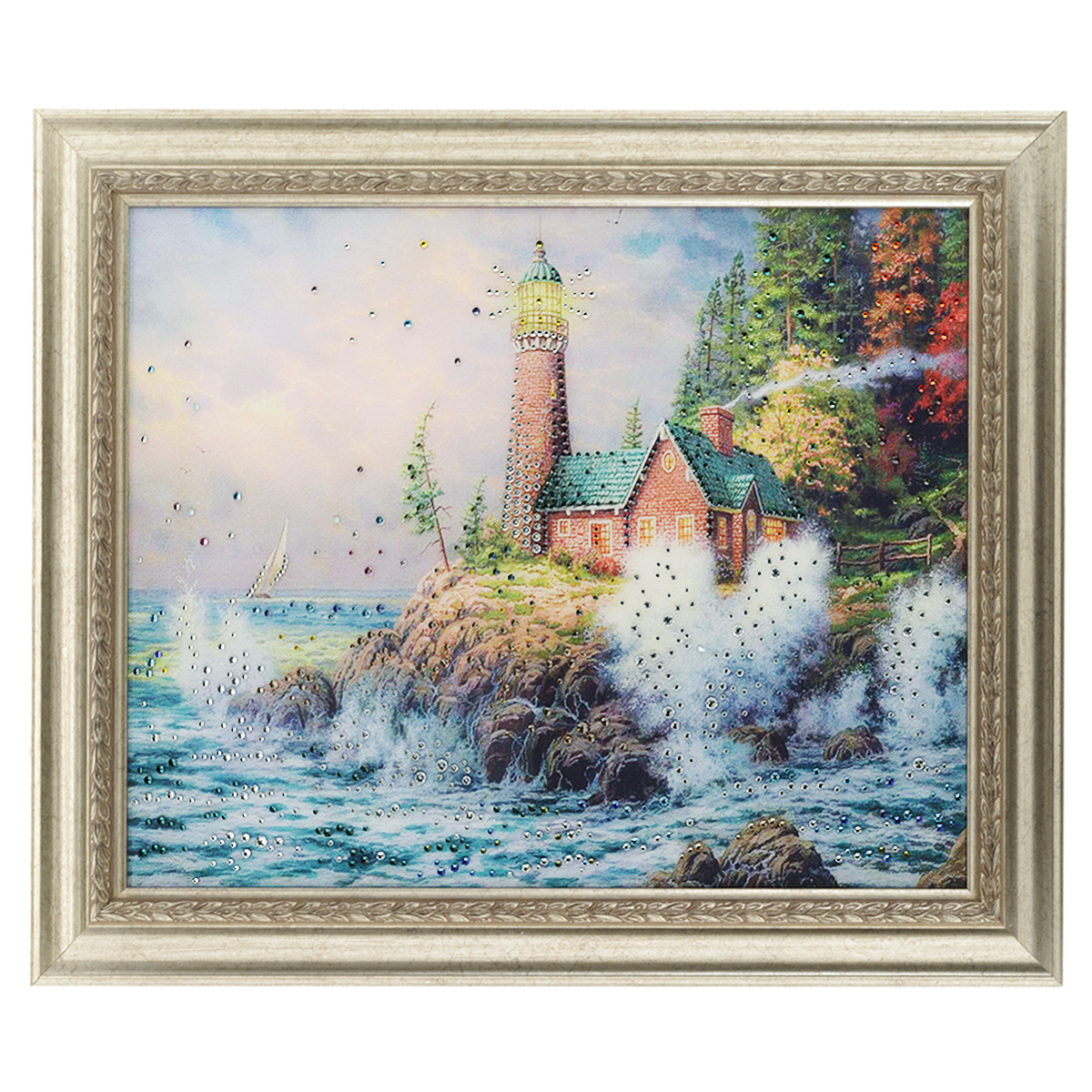 Картина с кристаллами Swarovski Маяк на берегу, 60 х 50 см8-482Изящная картина в багетной раме, инкрустирована кристаллами Swarovski, которые отличаются четкой и ровной огранкой, ярким блеском и чистотой цвета. Красочное изображение маяка на берегу, расположенное под стеклом, прекрасно дополняет блеск кристаллов. С обратной стороны имеется металлическая проволока для размещения картины на стене. Картина с кристаллами Swarovski Маяк на берегу элегантно украсит интерьер дома или офиса, а также станет прекрасным подарком, который обязательно понравится получателю. Блеск кристаллов в интерьере, что может быть сказочнее и удивительнее. Картина упакована в подарочную картонную коробку синего цвета и комплектуется сертификатом соответствия Swarovski.