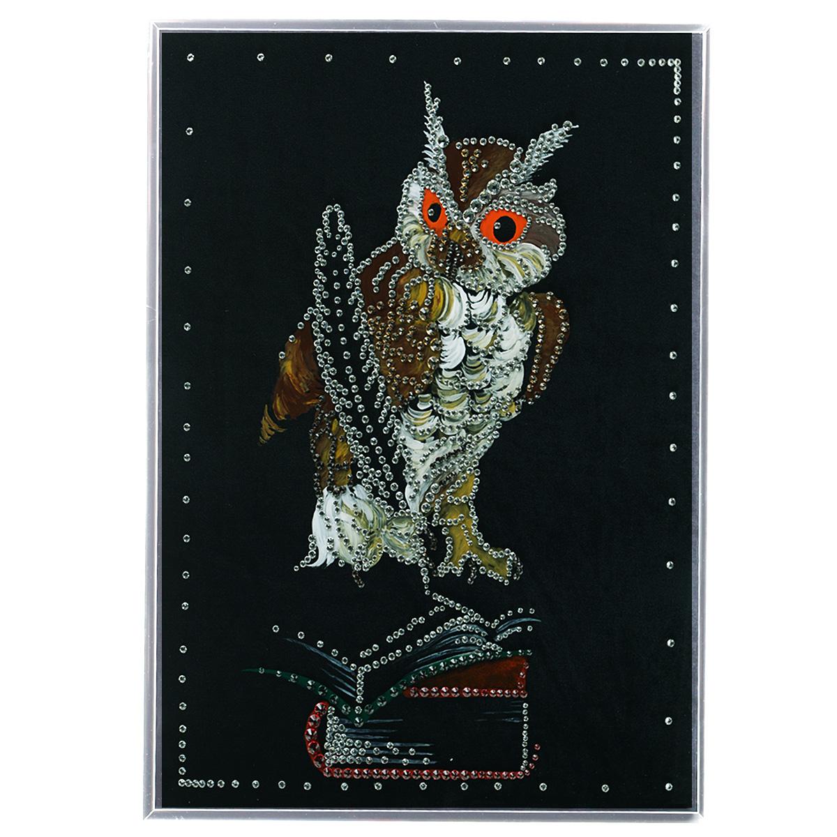 Картина с кристаллами Swarovski Мудрая сова, 30 х 40 см картины в квартиру картина etude 2 102х130 см