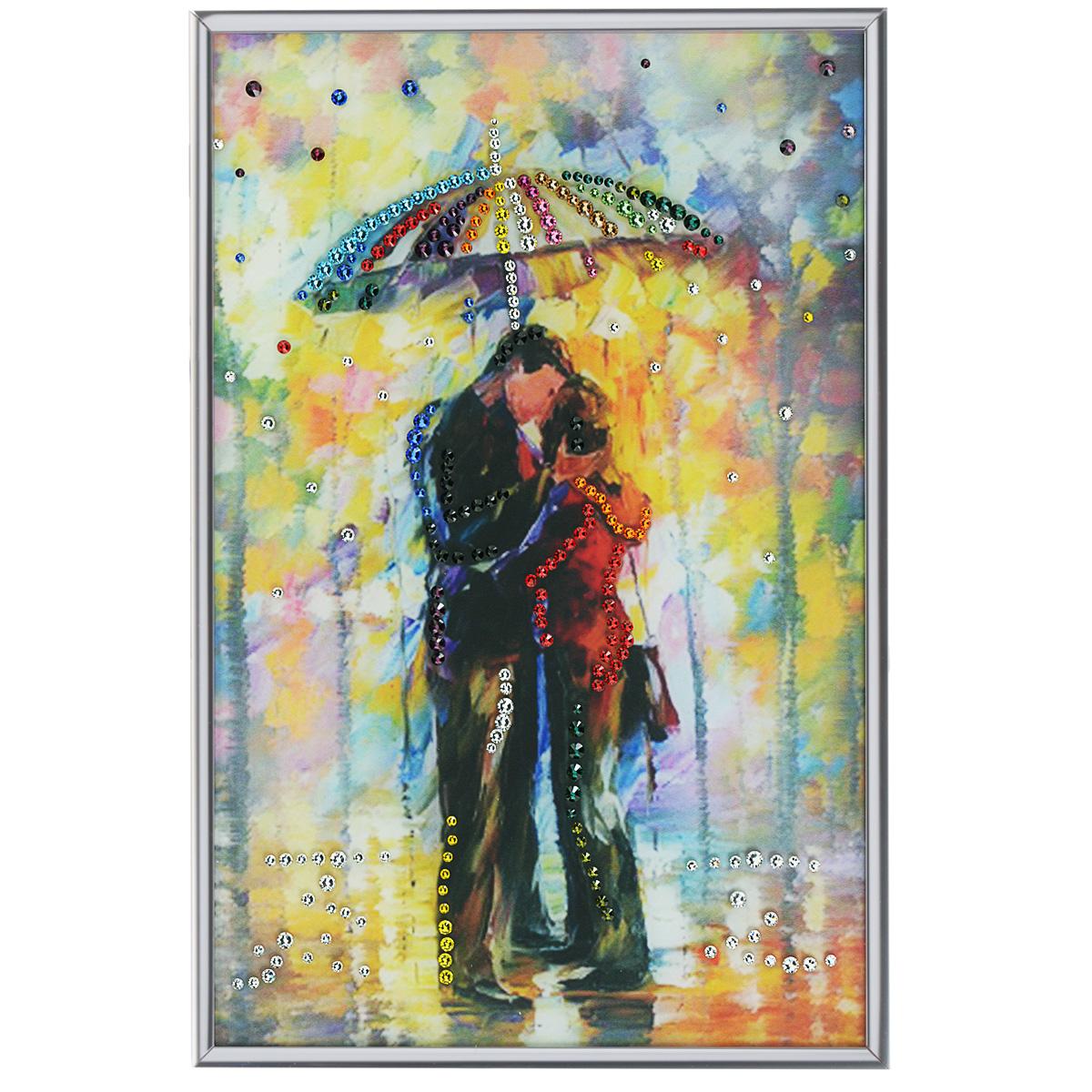 Картина с кристаллами Swarovski Под зонтом, 20 см х 30 смPM-3001Изящная картина в алюминиевой раме Под зонтом инкрустирована кристаллами Swarovski, которые отличаются четкой и ровной огранкой, ярким блеском и чистотой цвета. Идеально подобранная палитра кристаллов прекрасно дополняет картину. С задней стороны изделие оснащено специальной металлической петелькой для размещения на стене. Картина с кристаллами Swarovski элегантно украсит интерьер дома, а также станет прекрасным подарком, который обязательно понравится получателю. Блеск кристаллов в интерьере - что может быть сказочнее и удивительнее. Изделие упаковано в подарочную картонную коробку синего цвета и комплектуется сертификатом соответствия Swarovski.