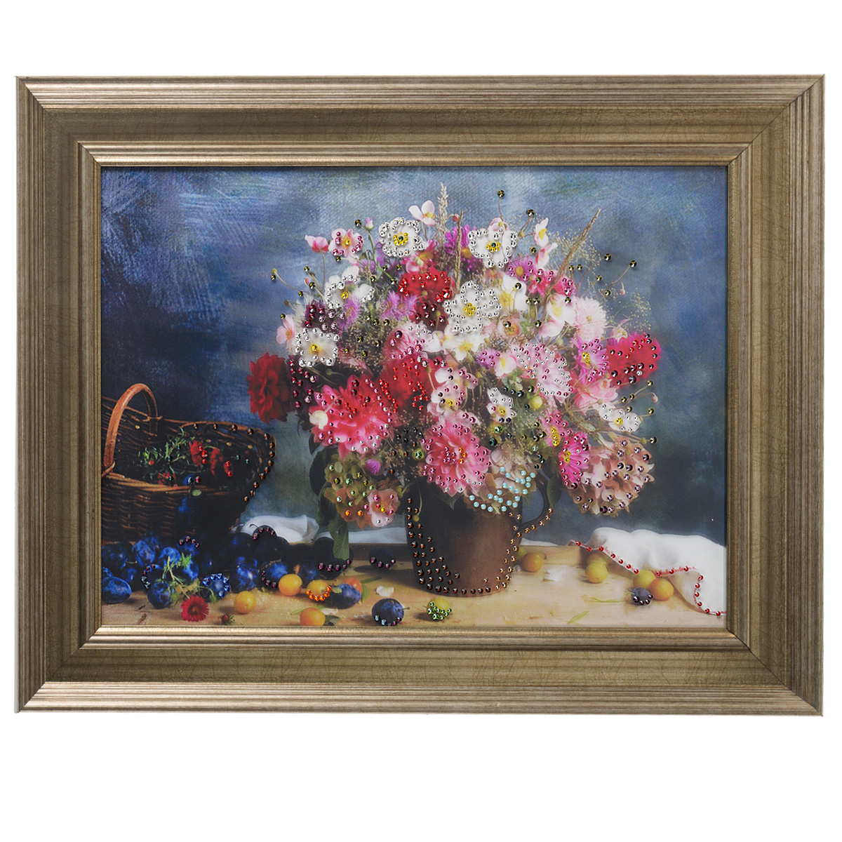 Картина с кристаллами Swarovski Полевой букет, 50 х 40 см картины в квартиру картина etude 2 102х130 см