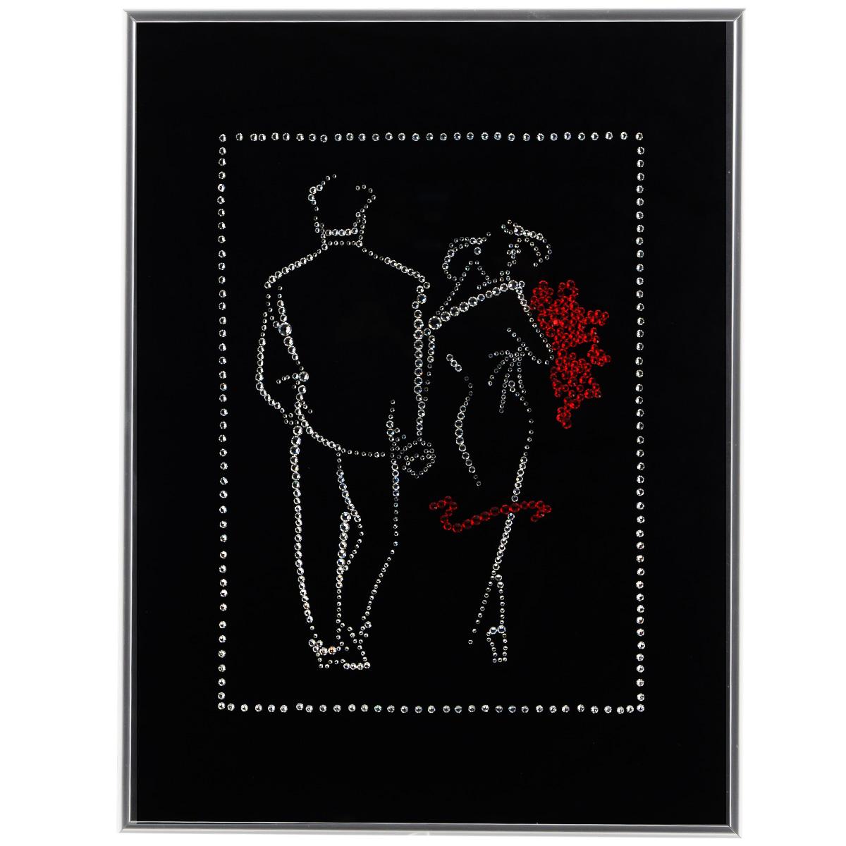 Картина с кристаллами Swarovski Свидание, 30 х 40 смPM-3003Изящная картина в металлической раме, инкрустирована кристаллами Swarovski в виде силуэтов мужчины и женщины. Кристаллы Swarovski отличаются четкой и ровной огранкой, ярким блеском и чистотой цвета. Под стеклом картина оформлена бархатистой тканью, что прекрасно дополняет блеск кристаллов. С обратной стороны имеется металлическая петелька для размещения картины на стене. Картина с кристаллами Swarovski Свидание элегантно украсит интерьер дома или офиса, а также станет прекрасным подарком, который обязательно понравится получателю. Блеск кристаллов в интерьере, что может быть сказочнее и удивительнее. Картина упакована в подарочную картонную коробку синего цвета и комплектуется сертификатом соответствия Swarovski.