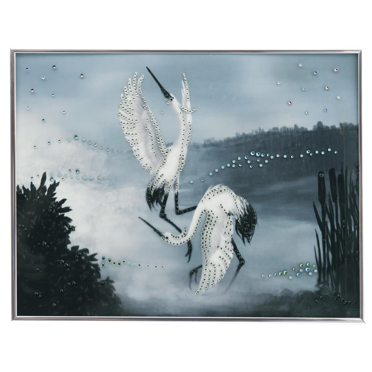 Картина с кристаллами Swarovski Танец журавлей, 40 х 30 см картины в квартиру картина etude 2 102х130 см