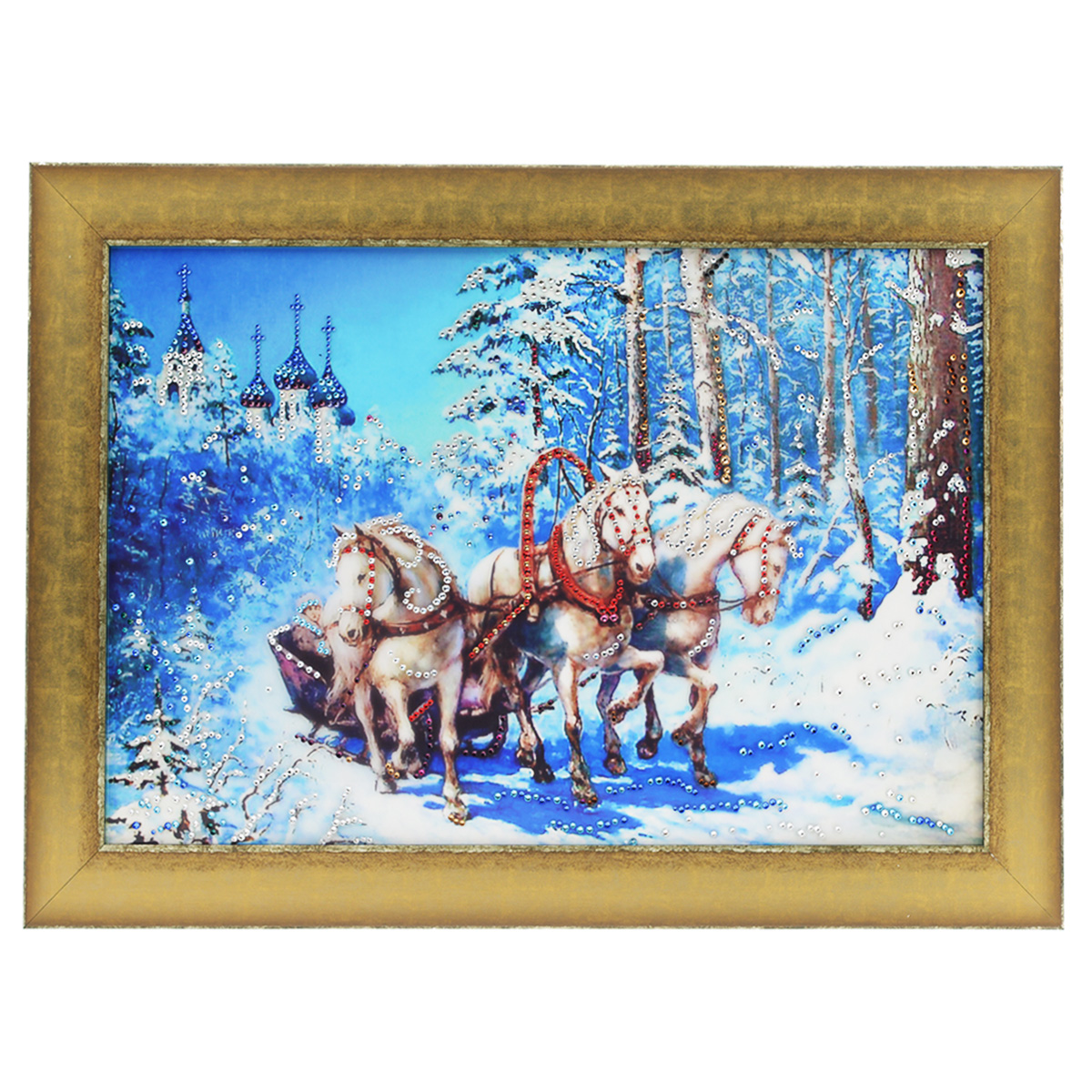 Картина с кристаллами Swarovski Тройка, 70 х 50 см картины в квартиру картина etude 2 102х130 см