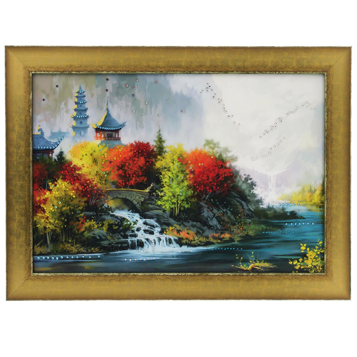 Картина с кристаллами Swarovski Восток, 70 см х 50 см1082Изящная картина в багетной раме, инкрустирована кристаллами Swarovski, которые отличаются четкой и ровной огранкой, ярким блеском и чистотой цвета. Красочное изображение восточного пейзажа, расположенное на внутренней стороне стекла, прекрасно дополняет блеск кристаллов. С обратной стороны имеется металлическая проволока для размещения картины на стене. Картина с кристаллами Swarovski Восток элегантно украсит интерьер дома или офиса, а также станет прекрасным подарком, который обязательно понравится получателю. Блеск кристаллов в интерьере, что может быть сказочнее и удивительнее. Картина упакована в подарочную картонную коробку синего цвета и комплектуется сертификатом соответствия Swarovski.