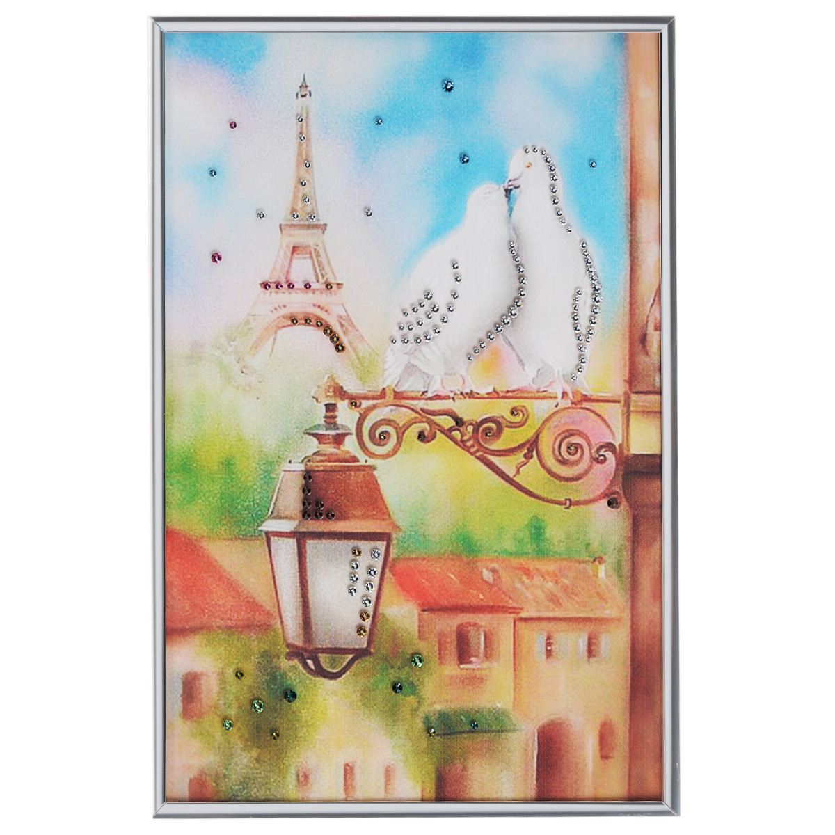 Картина с кристаллами Swarovski Голуби в Париже, 20 см х 30 см97526Изящная картина в металлической раме, инкрустирована кристаллами Swarovski, которые отличаются четкой и ровной огранкой, ярким блеском и чистотой цвета. Красочное изображение двух голубей на фоне Эйфелевой башни, расположенное под стеклом, прекрасно дополняет блеск кристаллов. С обратной стороны имеется металлическая петелька для размещения картины на стене.Картина с кристаллами Swarovski Голуби в Париже элегантно украсит интерьер дома или офиса, а также станет прекрасным подарком, который обязательно понравится получателю. Блеск кристаллов в интерьере, что может быть сказочнее и удивительнее. Картина упакована в подарочную картонную коробку синего цвета и комплектуется сертификатом соответствия Swarovski.
