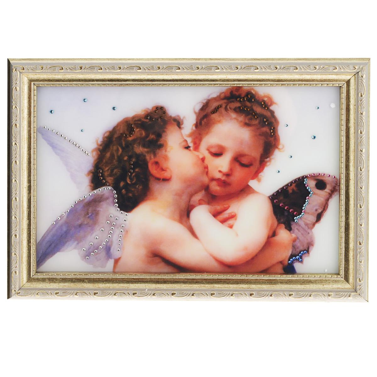 Картина с кристаллами Swarovski Поцелуй Валентина, 35 х 25 см картины в квартиру картина etude 2 102х130 см