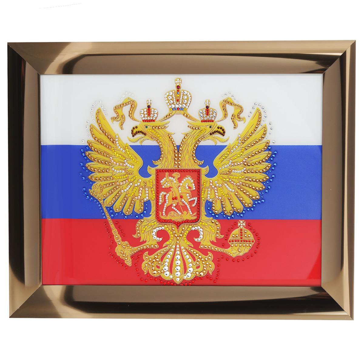 Картина с кристаллами Swarovski Герб России, 47,5 х 37,5 см картины в квартиру картина etude 2 102х130 см
