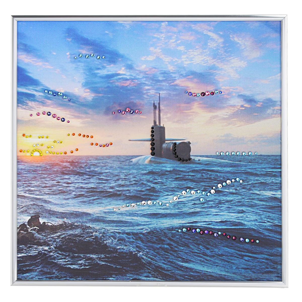 Картина с кристаллами Swarovski Подводная лодка, 30 см х 30 смSG 20Изящная картина в алюминиевой раме Подводная лодка инкрустирована кристаллами Swarovski, которые отличаются четкой и ровной огранкой, ярким блеском и чистотой цвета. Идеально подобранная палитра кристаллов прекрасно дополняет картину. С задней стороны изделие оснащено специальной металлической петелькой для размещения на стене. Картина с кристаллами Swarovski элегантно украсит интерьер дома, а также станет прекрасным подарком, который обязательно понравится получателю. Блеск кристаллов в интерьере - что может быть сказочнее и удивительнее. Изделие упаковано в подарочную картонную коробку синего цвета и комплектуется сертификатом соответствия Swarovski.