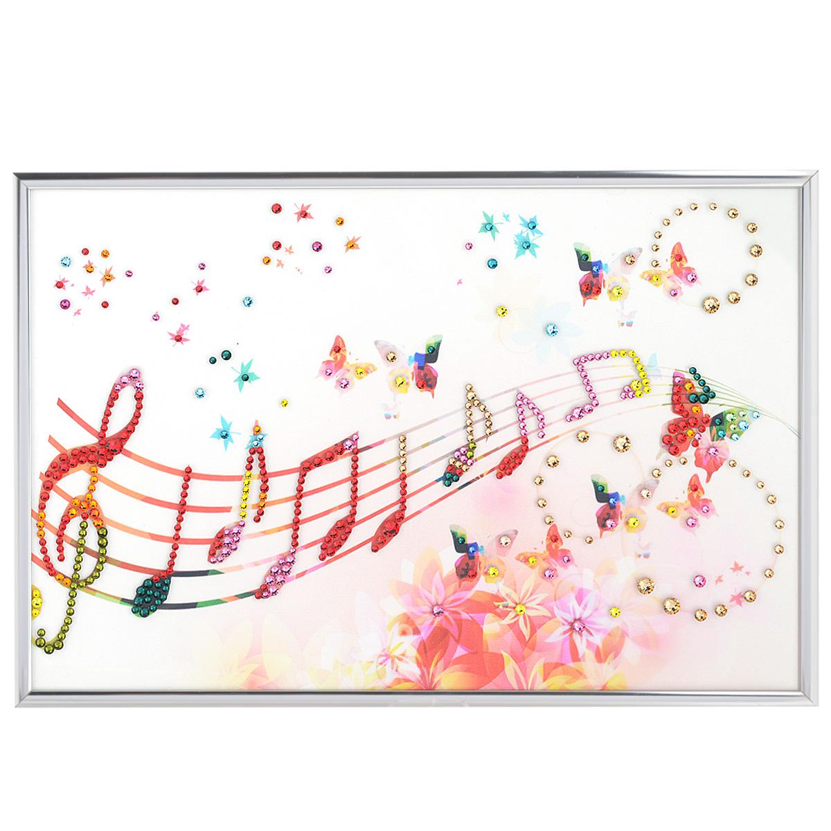 Картина с кристаллами Swarovski Музыка настроения, 30 см х 20 смIDEA CT3-11Изящная картина в алюминиевой раме Музыка настроения инкрустирована кристаллами Swarovski, которые отличаются четкой и ровной огранкой, ярким блеском и чистотой цвета. Идеально подобранная палитра кристаллов прекрасно дополняет картину. С задней стороны изделие оснащено специальной металлической петелькой для размещения на стене. Картина с кристаллами Swarovski элегантно украсит интерьер дома, а также станет прекрасным подарком, который обязательно понравится получателю. Блеск кристаллов в интерьере - что может быть сказочнее и удивительнее. Изделие упаковано в подарочную картонную коробку синего цвета и комплектуется сертификатом соответствия Swarovski.