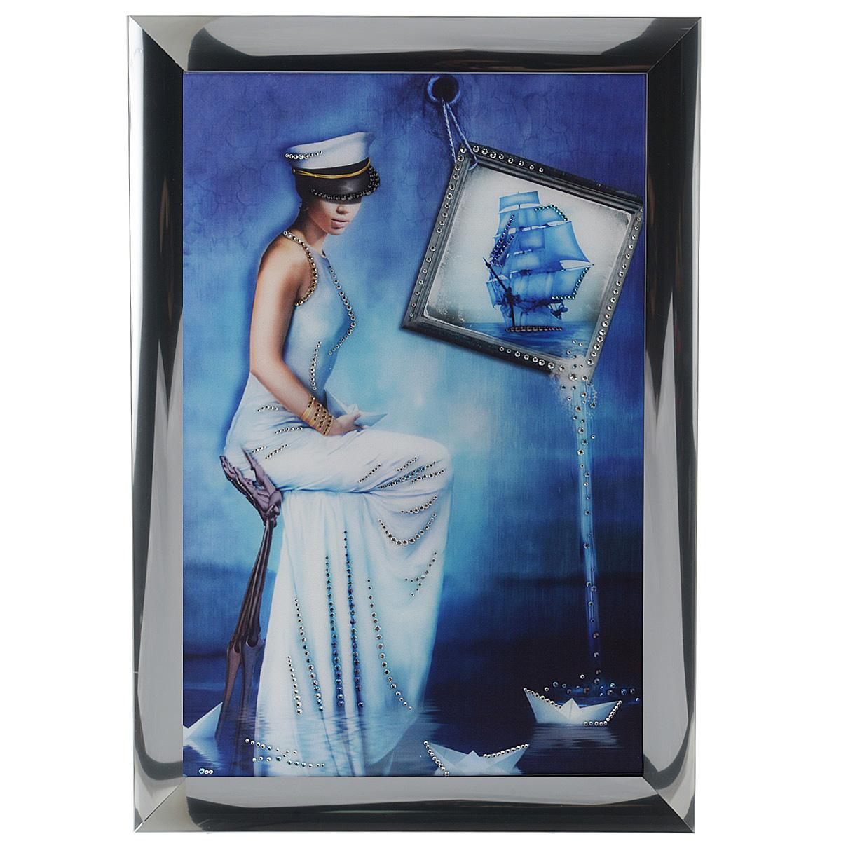 Картина с кристаллами Swarovski Морская дама, 47 см х 67 см853063Изящная картина в алюминиевой раме Морская дама инкрустирована кристаллами Swarovski, которые отличаются четкой и ровной огранкой, ярким блеском и чистотой цвета. Идеально подобранная палитра кристаллов прекрасно дополняет картину. С задней стороны изделие оснащено специальной металлической петелькой для размещения на стене. Картина с кристаллами Swarovski элегантно украсит интерьер дома, а также станет прекрасным подарком, который обязательно понравится получателю. Блеск кристаллов в интерьере - что может быть сказочнее и удивительнее. Изделие упаковано в подарочную картонную коробку синего цвета и комплектуется сертификатом соответствия Swarovski.