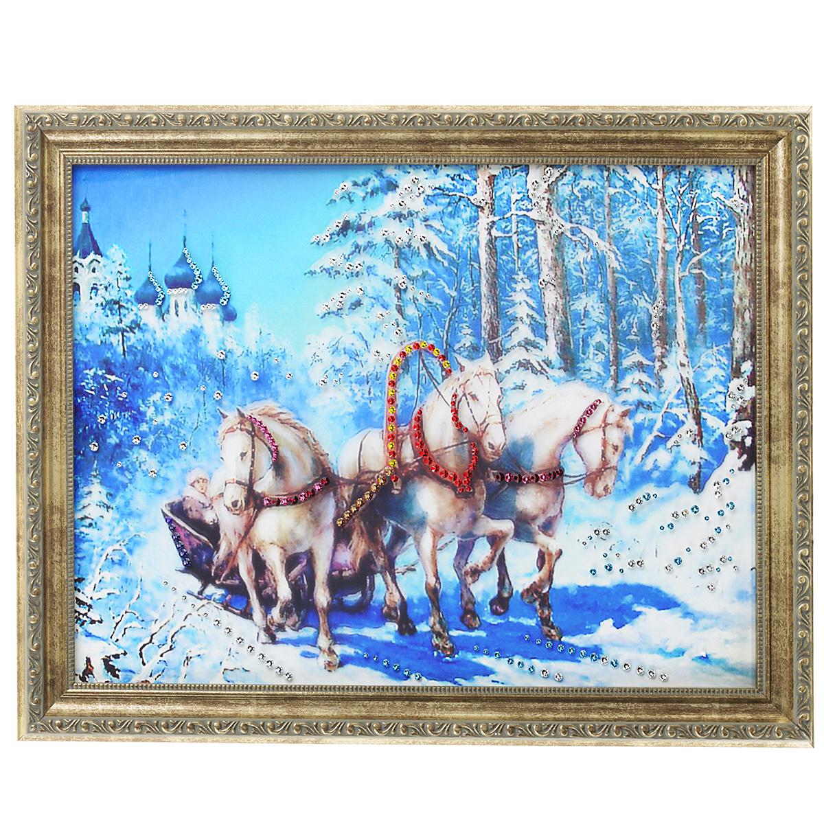 Картина с кристаллами Swarovski Тройка малая, 45 х 35 см12723Изящная картина в багетной раме, инкрустирована кристаллами Swarovski, которые отличаются четкой и ровной огранкой, ярким блеском и чистотой цвета. Красочное изображение тройки белых лошадей, расположенное на внутренней стороне стекла, прекрасно дополняет блеск кристаллов. С обратной стороны имеется металлическая проволока для размещения картины на стене. Картина с кристаллами Swarovski Тройка малая элегантно украсит интерьер дома или офиса, а также станет прекрасным подарком, который обязательно понравится получателю. Блеск кристаллов в интерьере, что может быть сказочнее и удивительнее. Картина упакована в подарочную картонную коробку синего цвета и комплектуется сертификатом соответствия Swarovski.